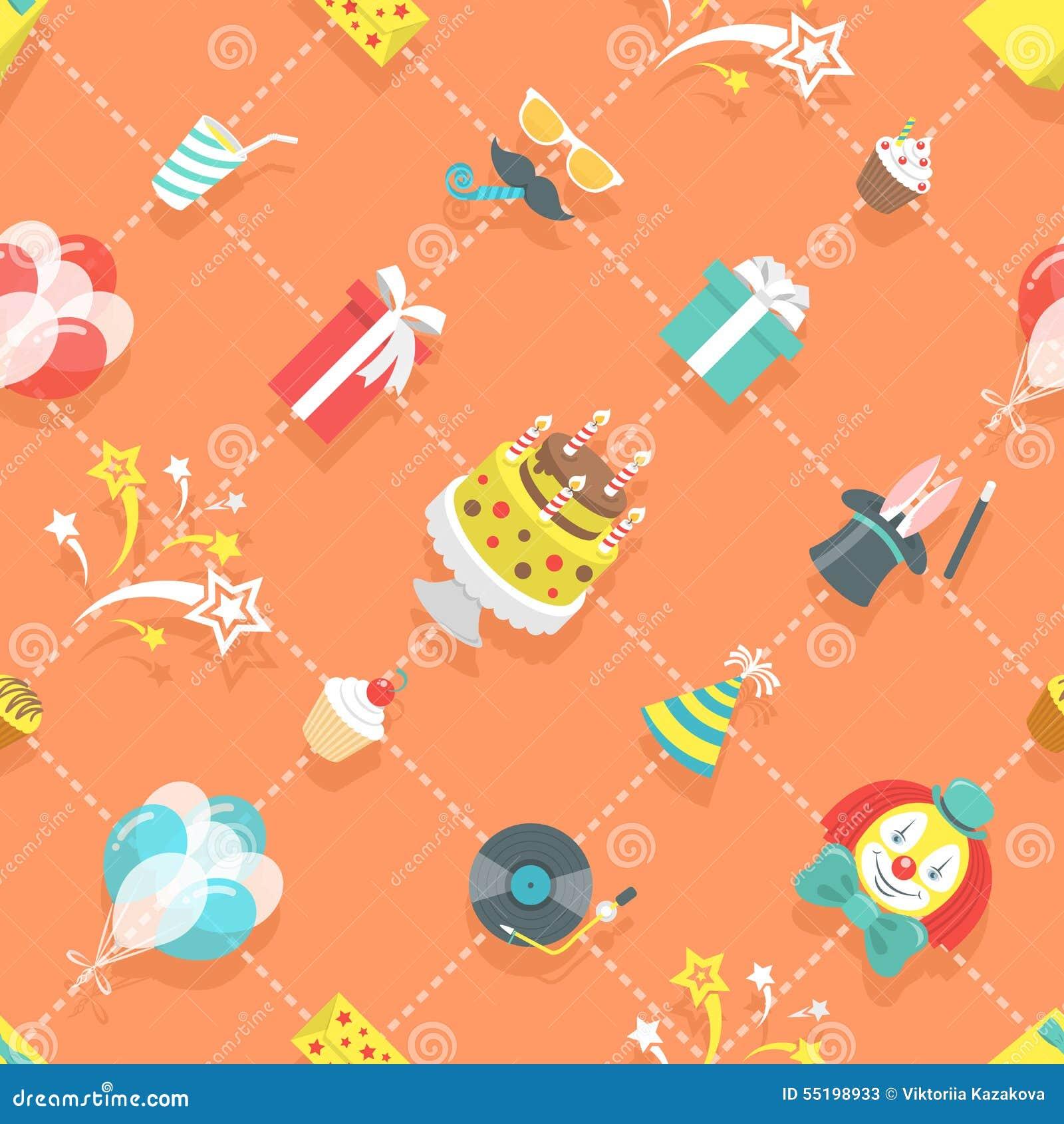 Flat Birthday Party Celebration Icons Seamless Pattern Illustration