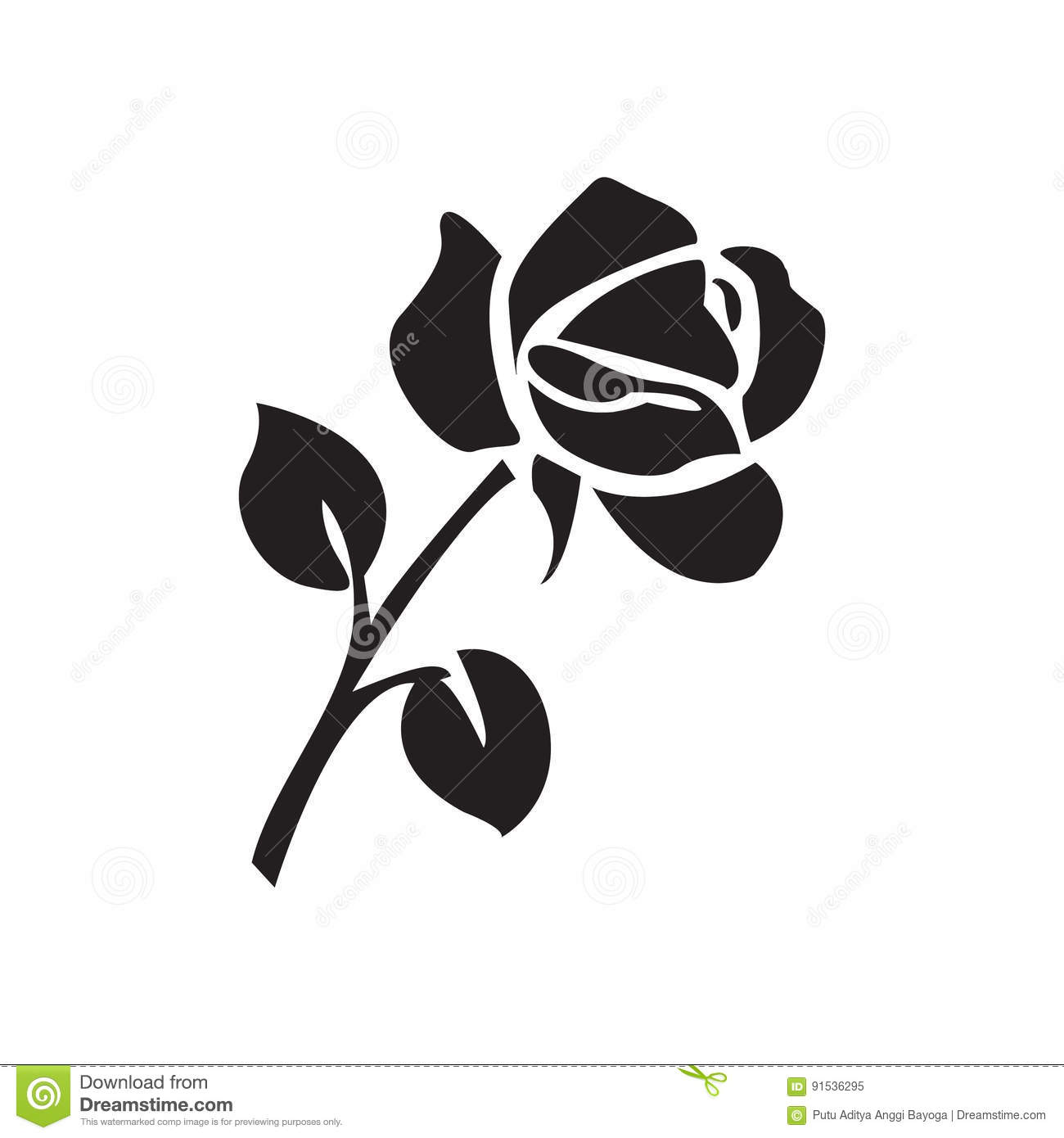 5ce6738ce Flat black rose icon stock vector. Illustration of plant - 91536295