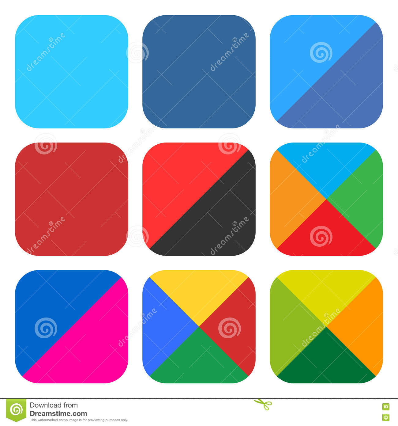 ca987de622 9 blank rounded square icon set. Popular color web button on white  background. Flat newest simple clean plain tidy solid style. Internet  design element save ...