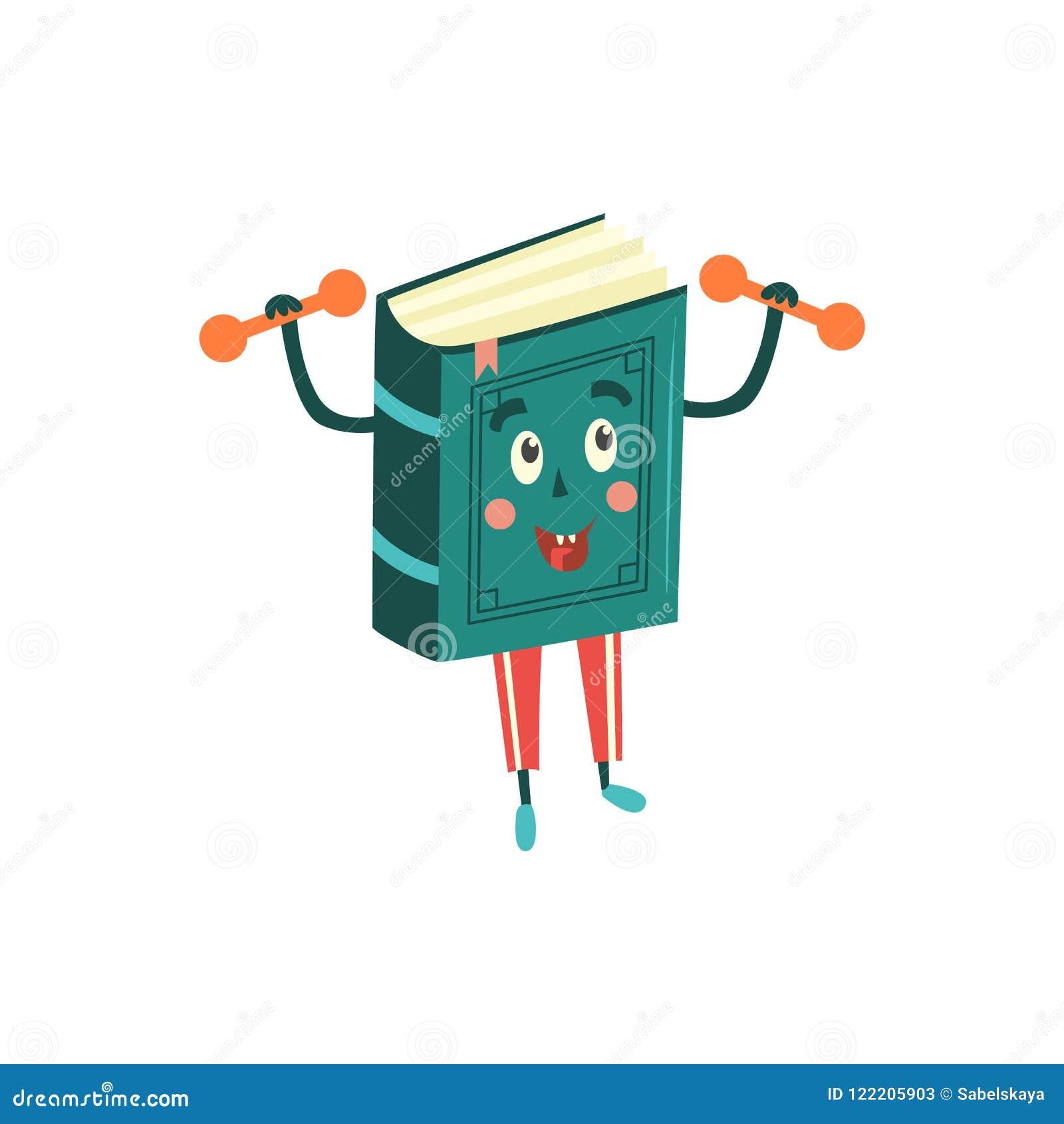 Vector Cartoon Book Character Dumbbell Workout Stock Vector ...