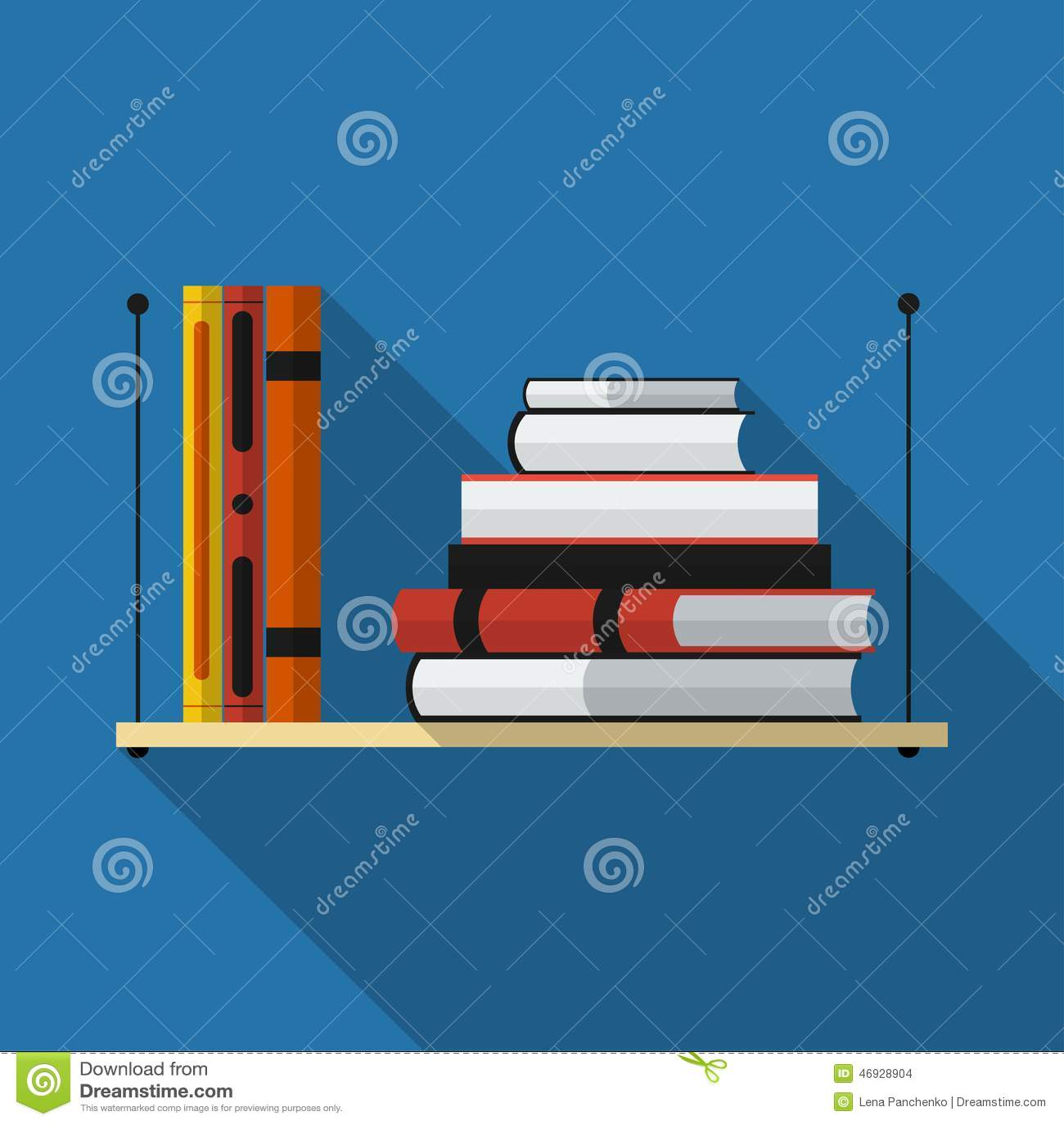 Flat Bookshelf With Long Shadow Vector Icon