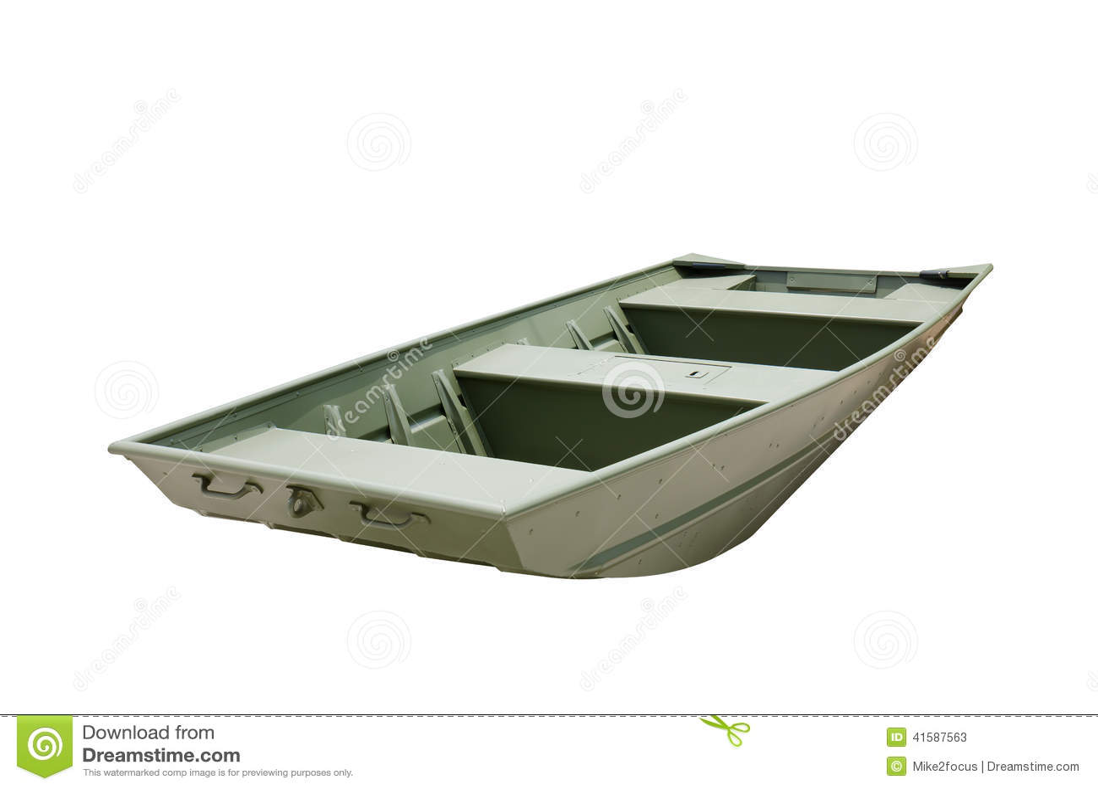 Flat Bottom Aluminum John Jon Boat Painted Green Stock Photo - Image ...