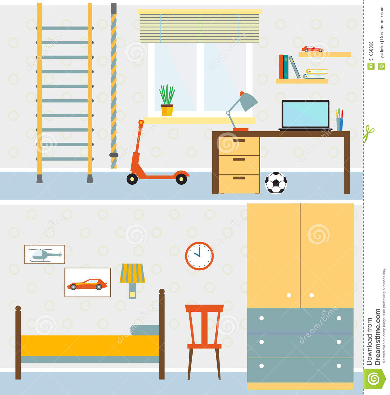 Flat boys room illustration stock vector illustration for Room design vector