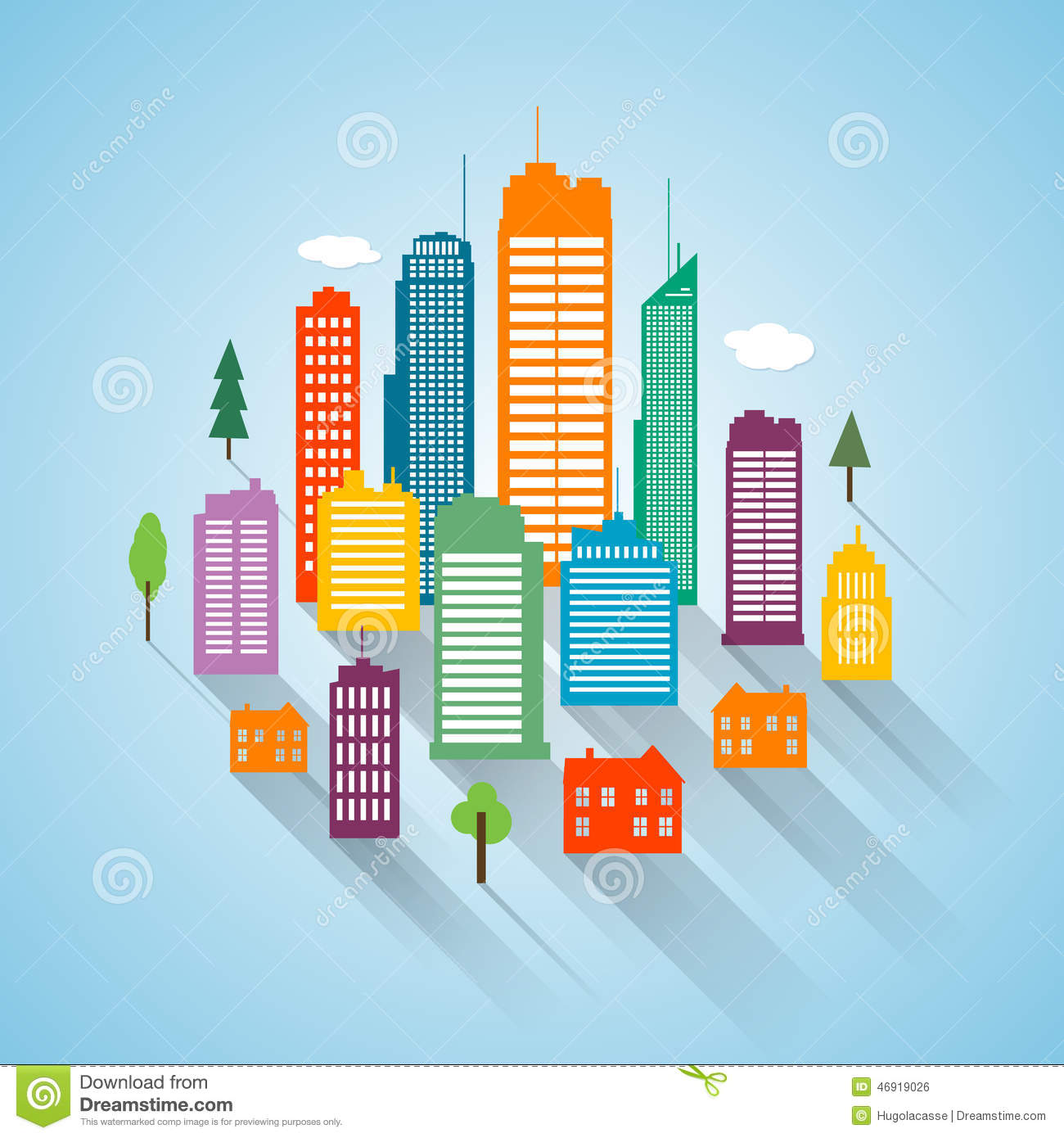 Flat Building Design Cityscape Background Stock Vector