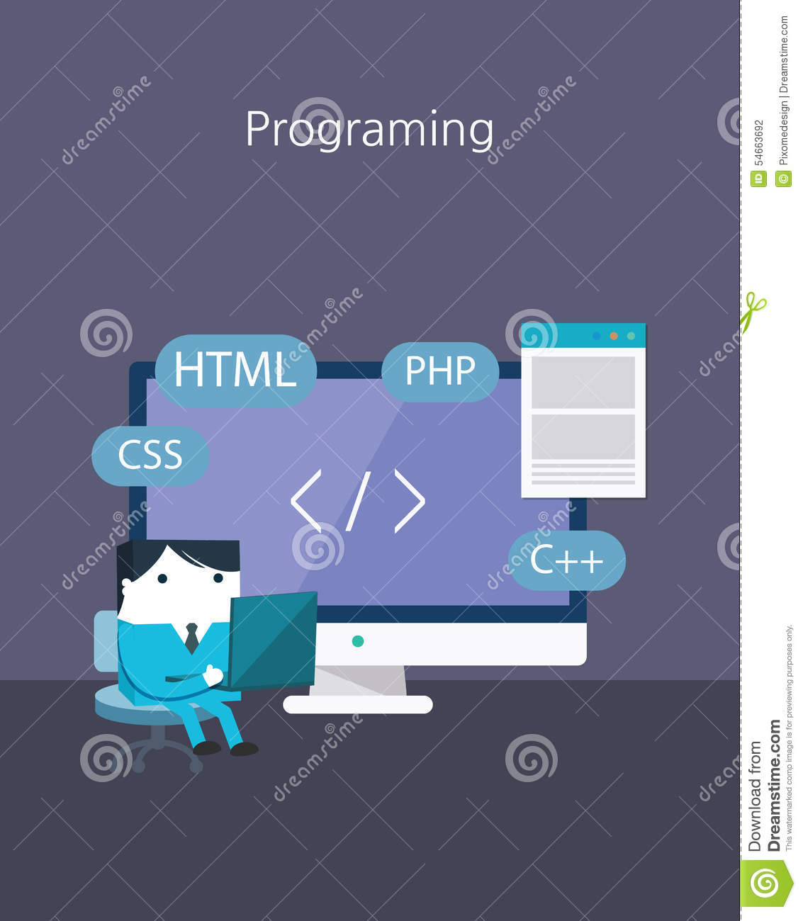 flat business character series programing concept stock