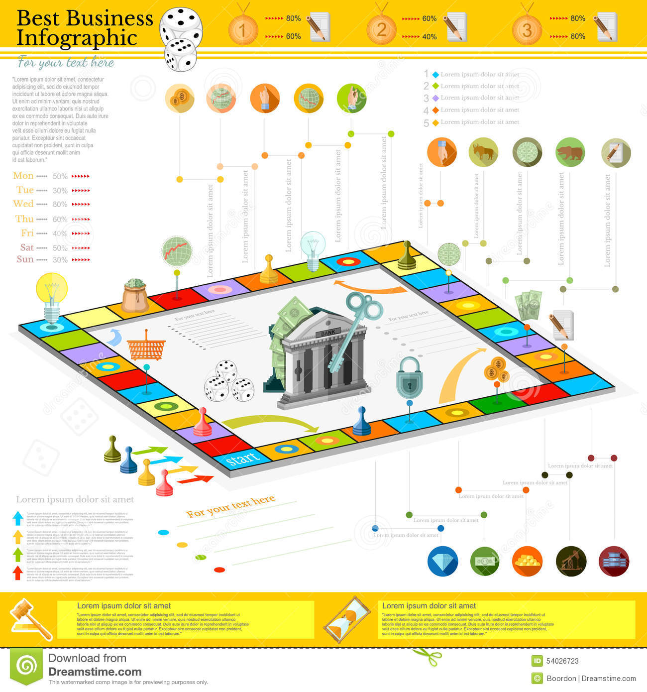 Flat Business Infographic Background With Financial Board Game Game