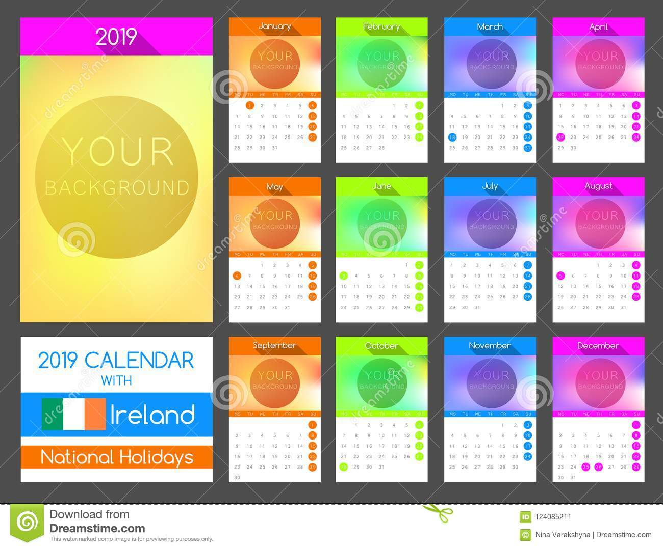 flat calendar design 2019 with ireland national holiday