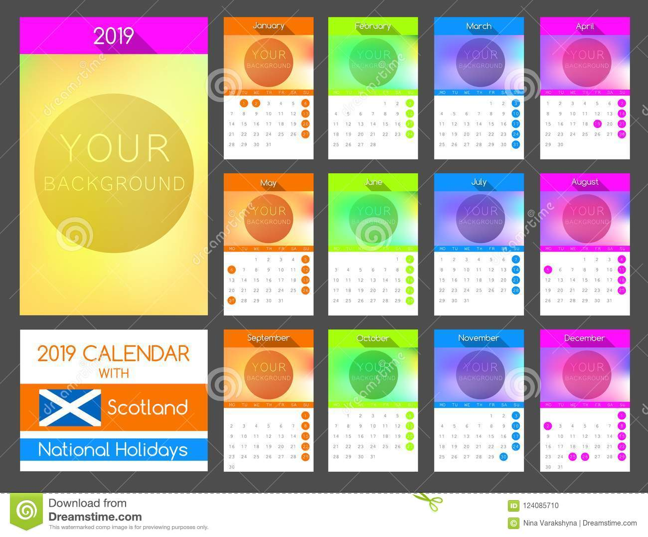 flat calendar design 2019 with scotland national holiday