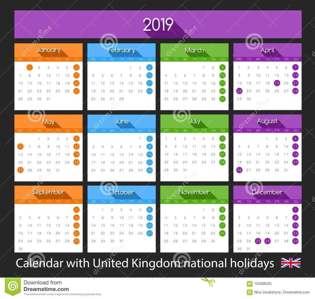 flat 2019 calendar design with united kingdom national holidays