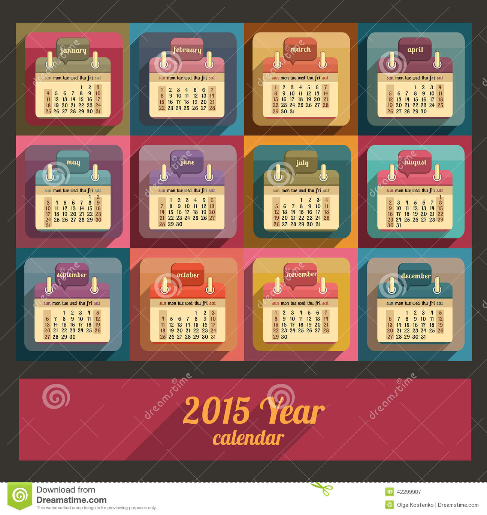 Flat Calendar 2015 Year Design Stock Vector Image 42299987