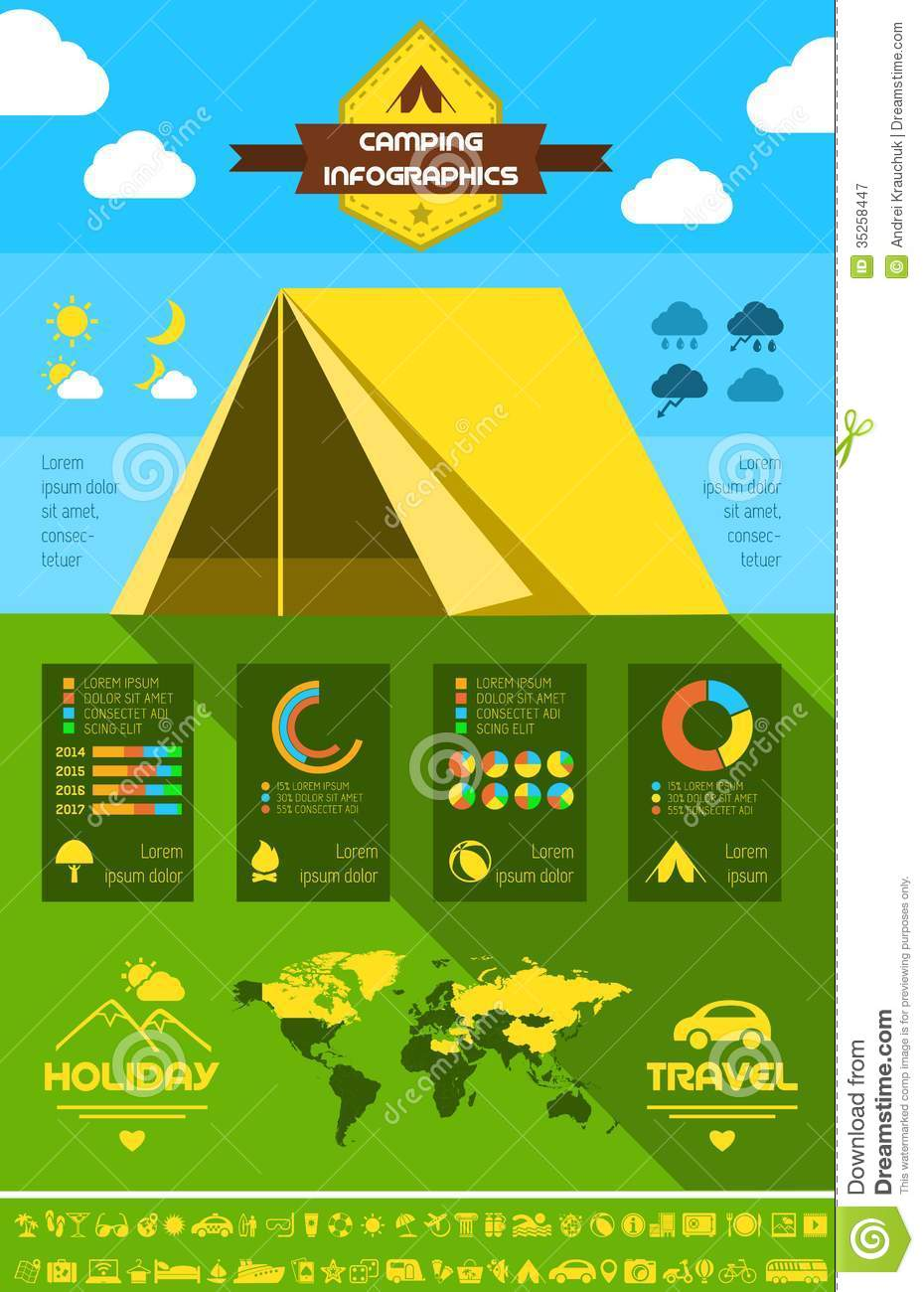 Flat Camping Infographic Template. Royalty Free Stock Photography ...