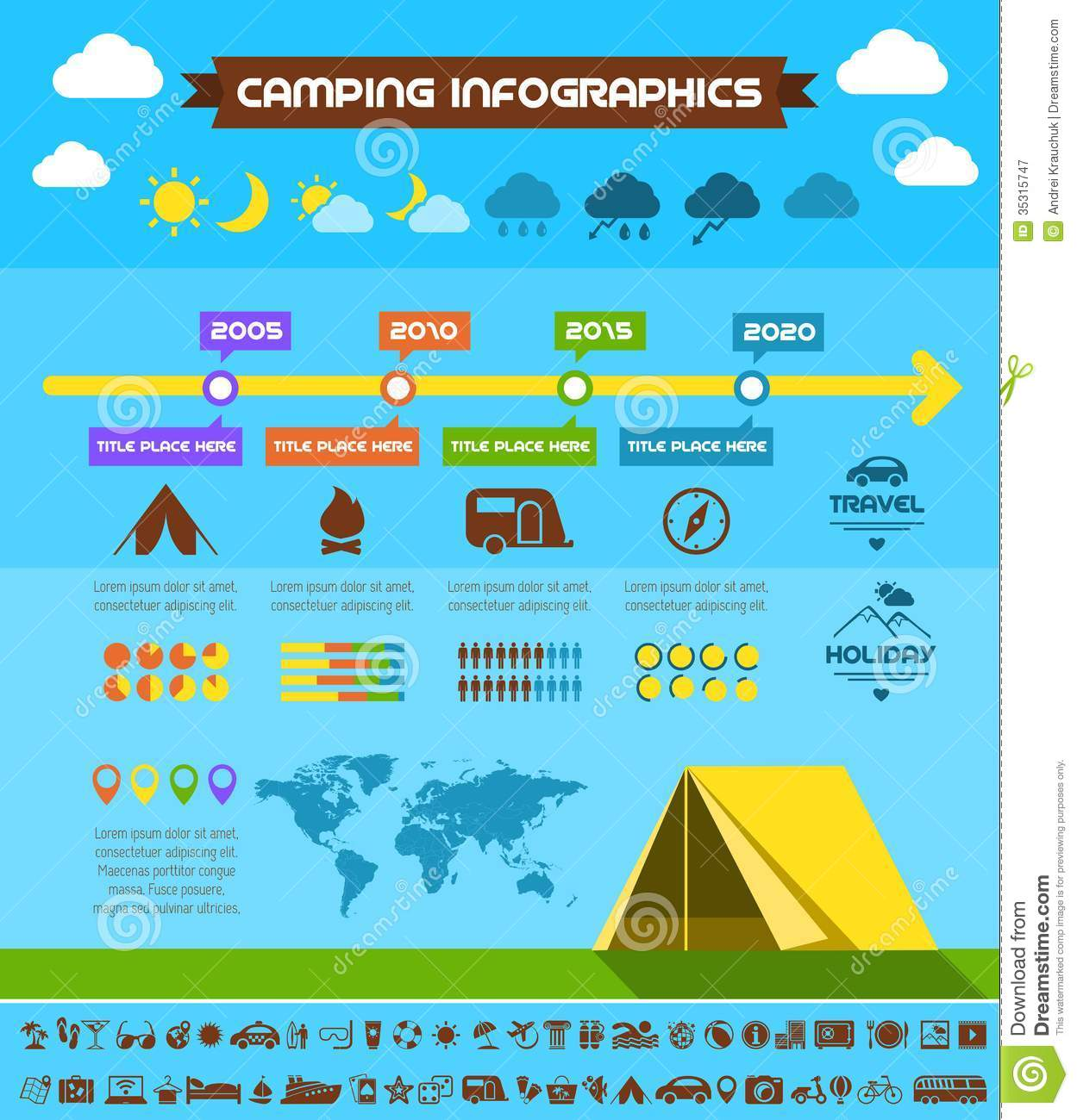 Flat Camping Infographic Template Royalty Free Stock