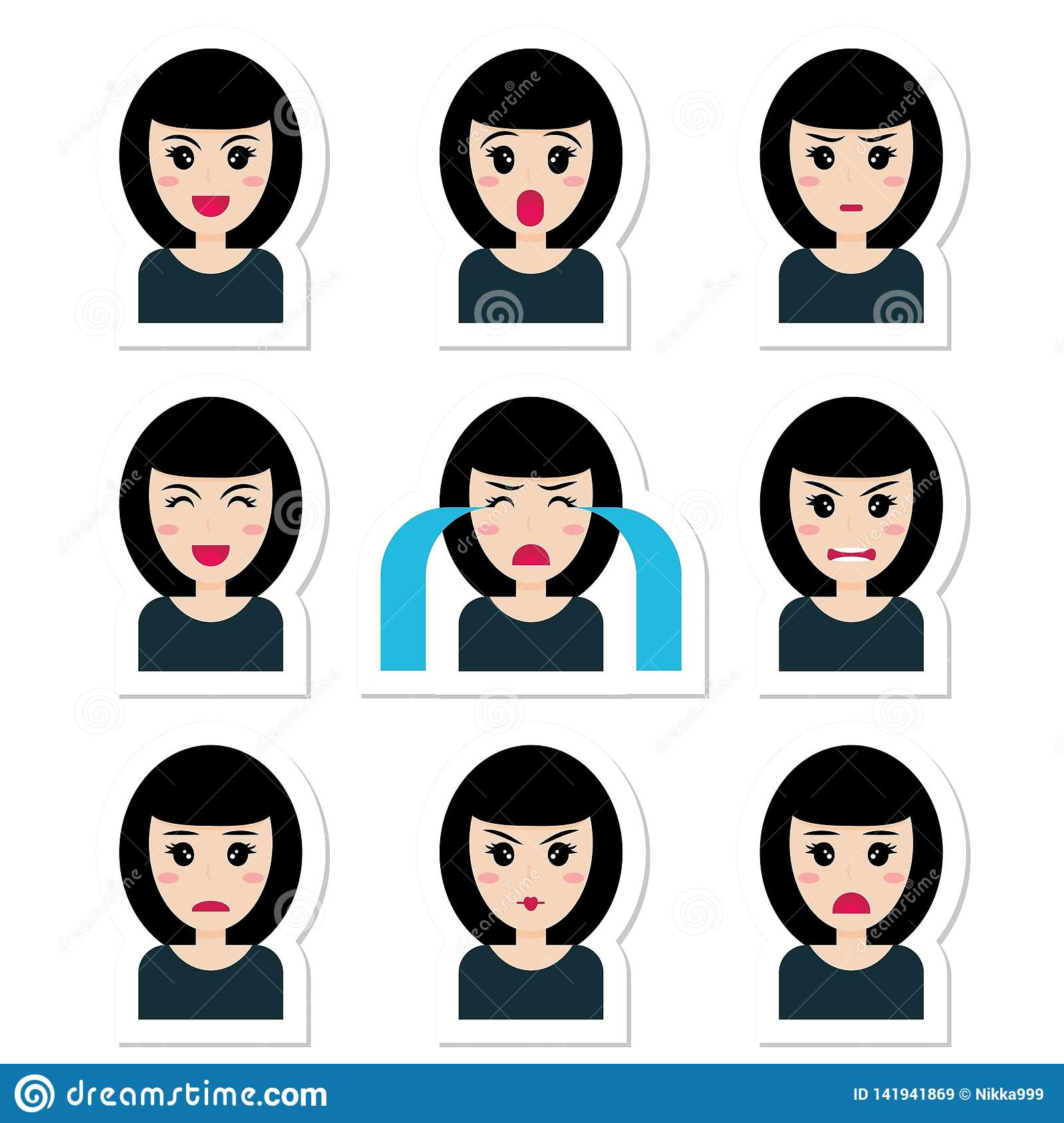 Flat Cartoon Character Cute Girl With Black Hair Different