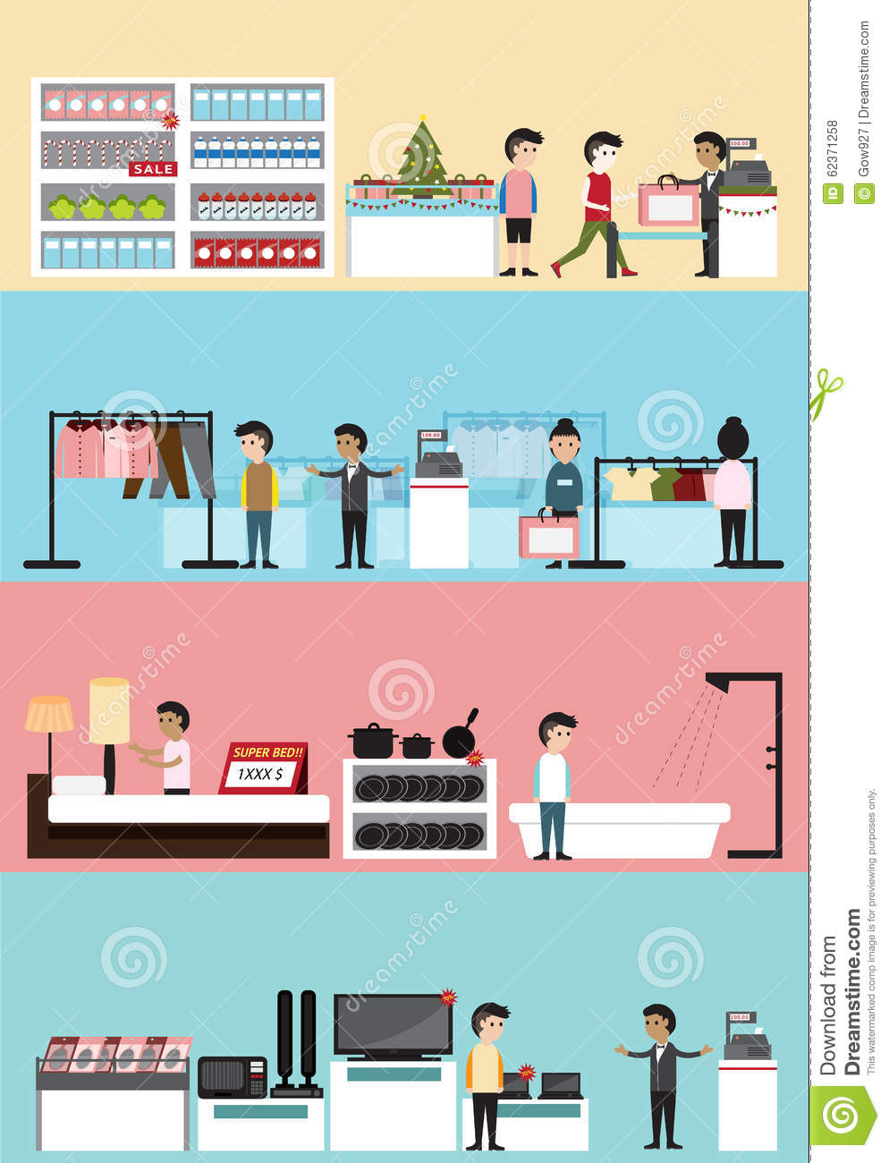 Department store cartoon images for Store building design