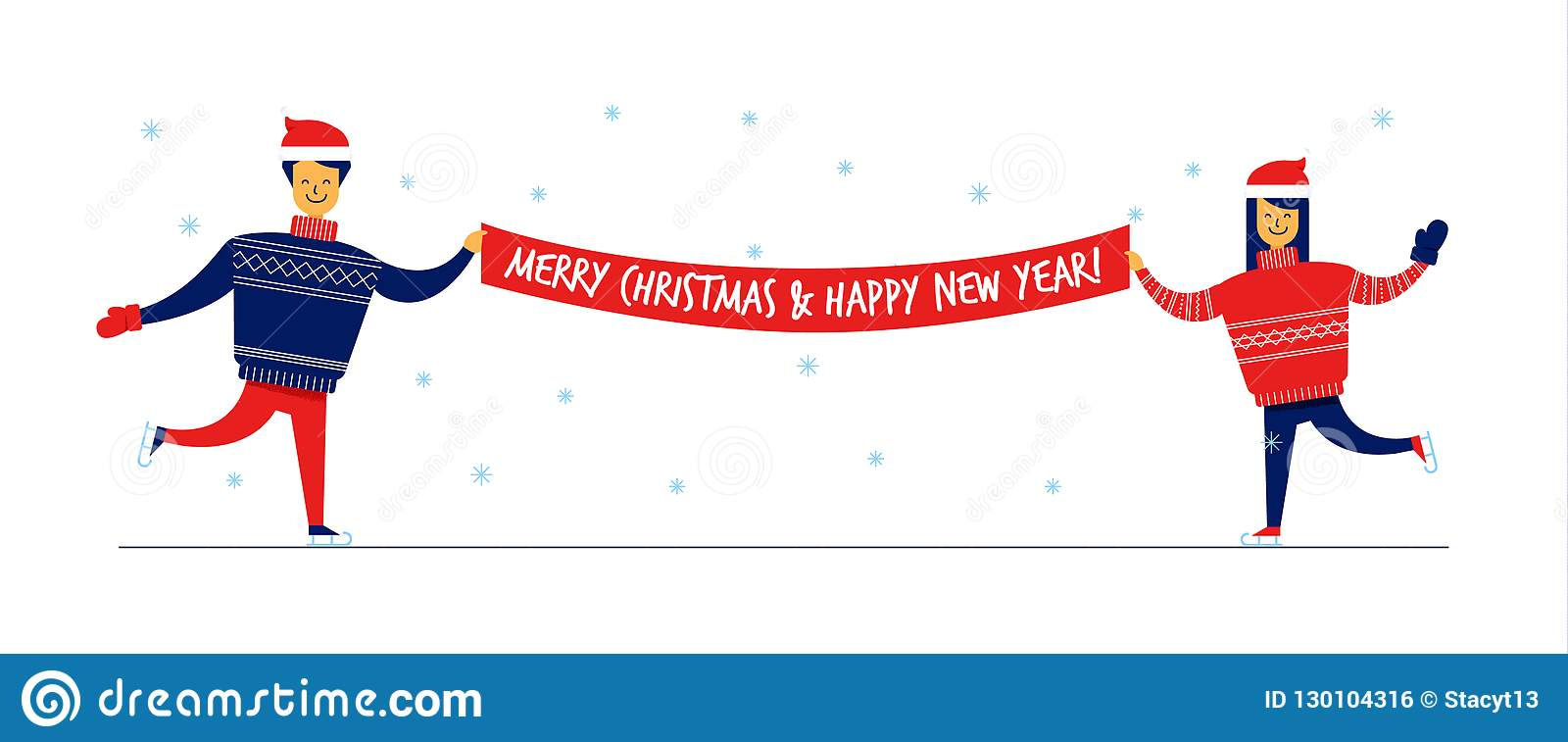 flat cartoon family characters in sweaters with merry christmas and happy new year bannergreeting