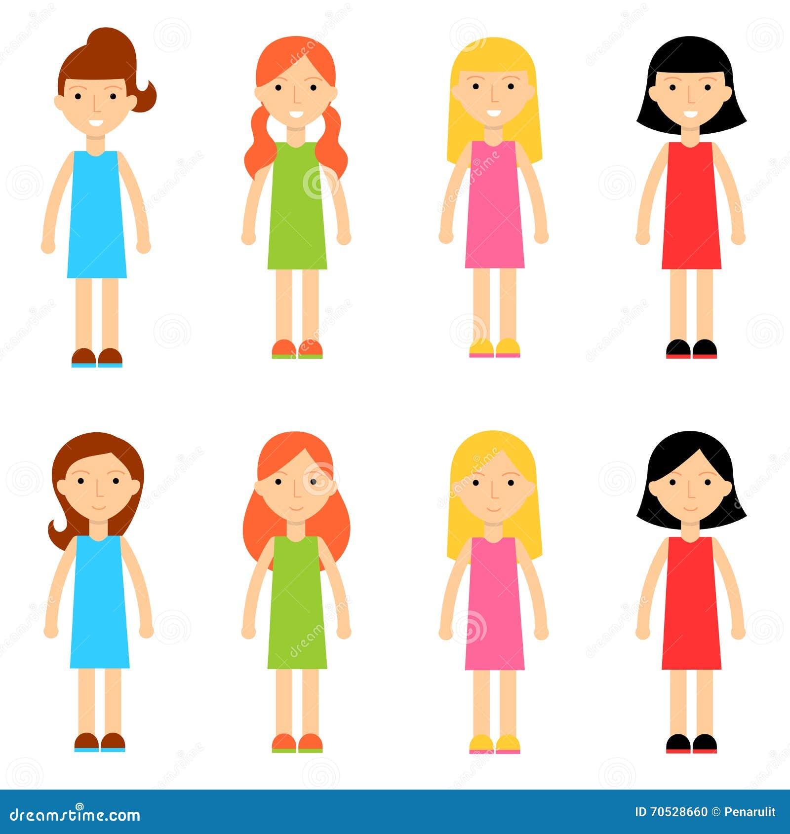 Vector Character Design Illustrator : Flat cartoon girl characters collection stock vector