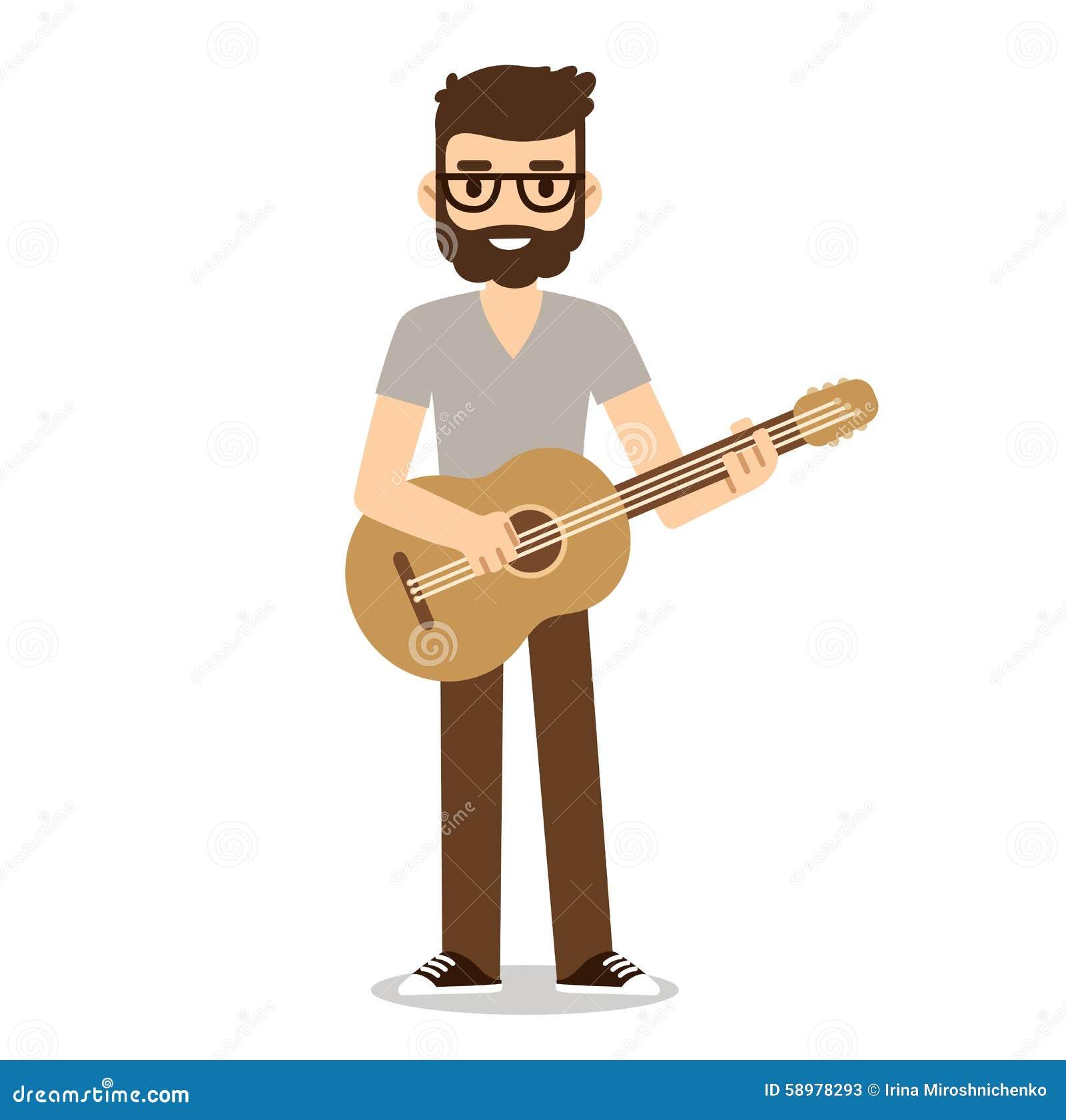 Flat Cartoon Guitarist Stock Vector Illustration Of Musical