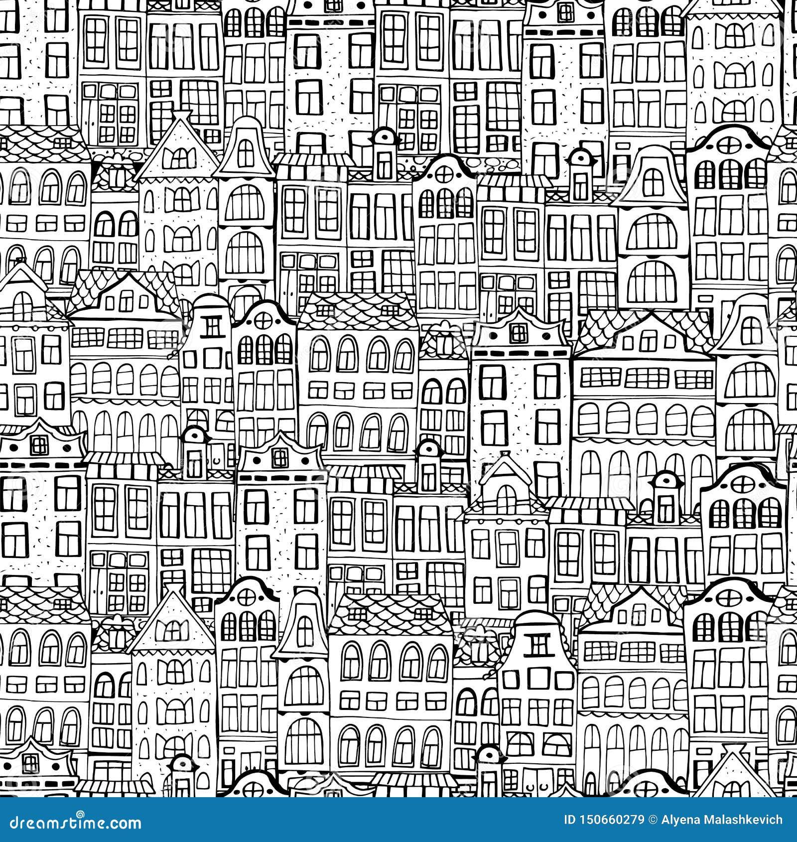 Flat cartoon historic buildings city town Amsterdam panorama Holland. Vector illustration