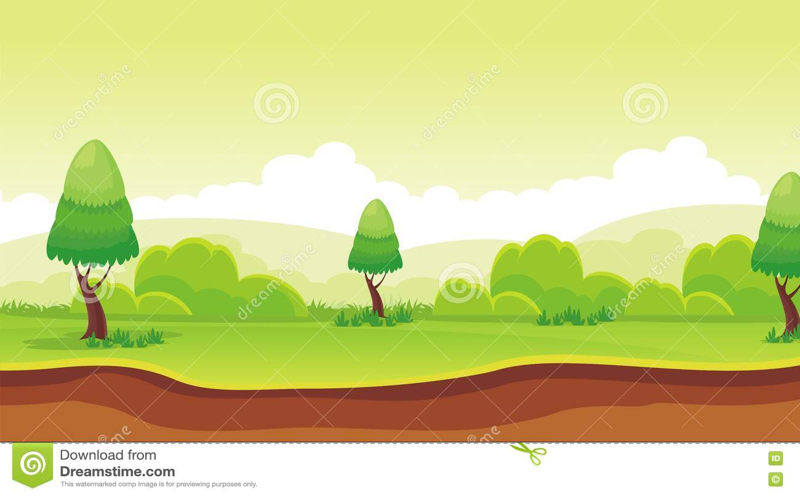 Flat Cartoon Nature Scenery Landscape Vector Illustration Layered Ground Grass Trees Stock Vector Illustration Of Animation Environment 76618326