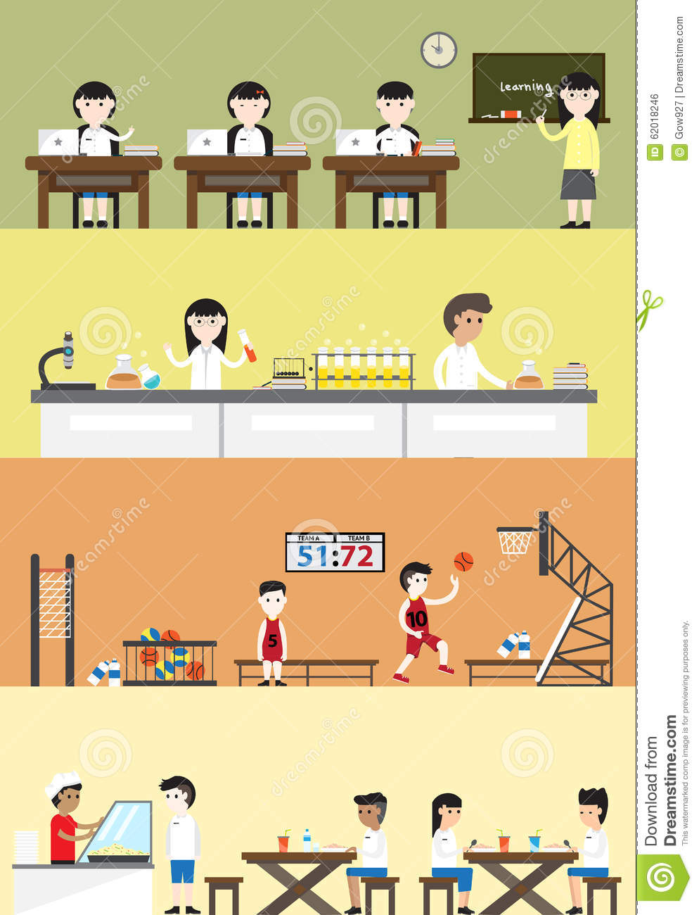 flat cartoon student in school building interior and