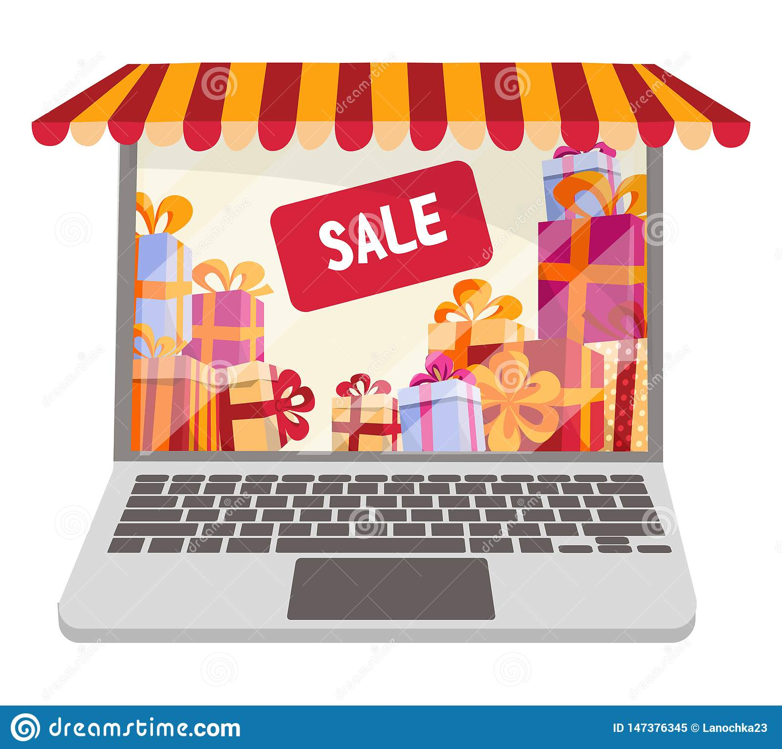 Flat cartoon vector llustration for online shopping and sales isolated on white background. Laptop decorated as shop window with