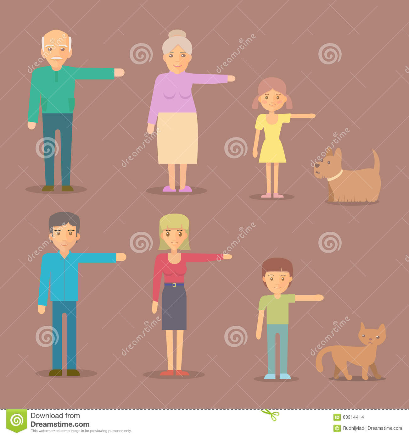 Flat Characters For Animation Stock Vector Image 63314414
