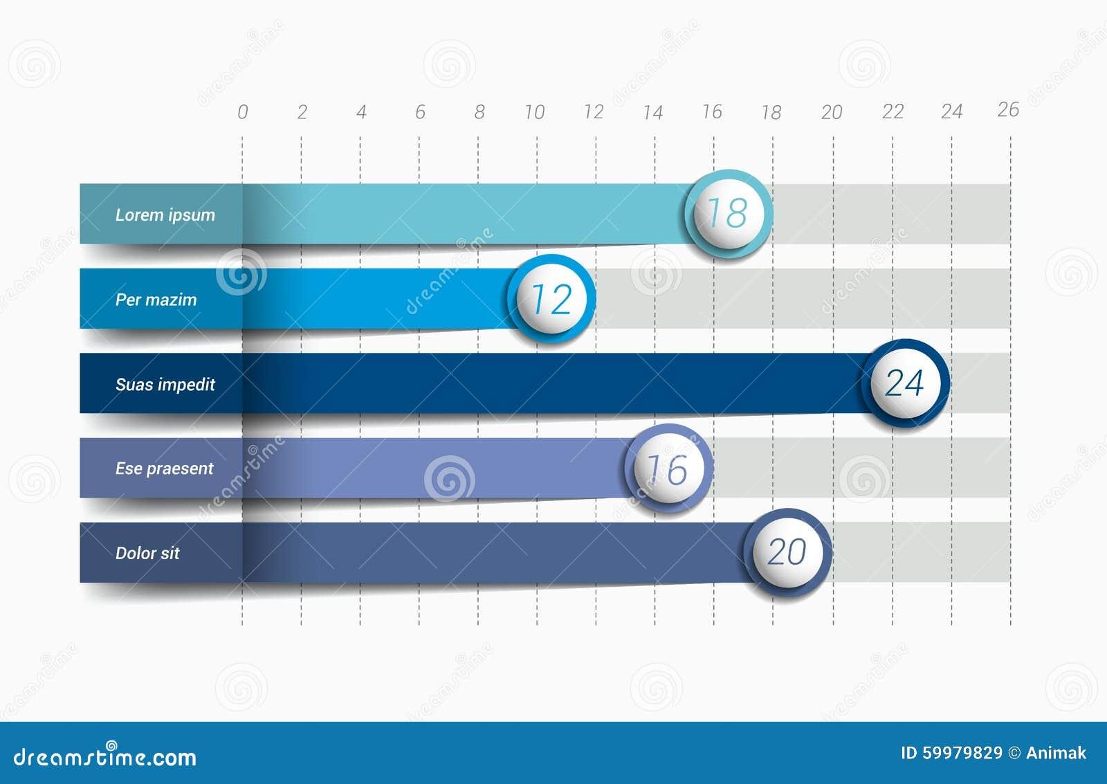 Flat chart, graph. Simply blue color editable.