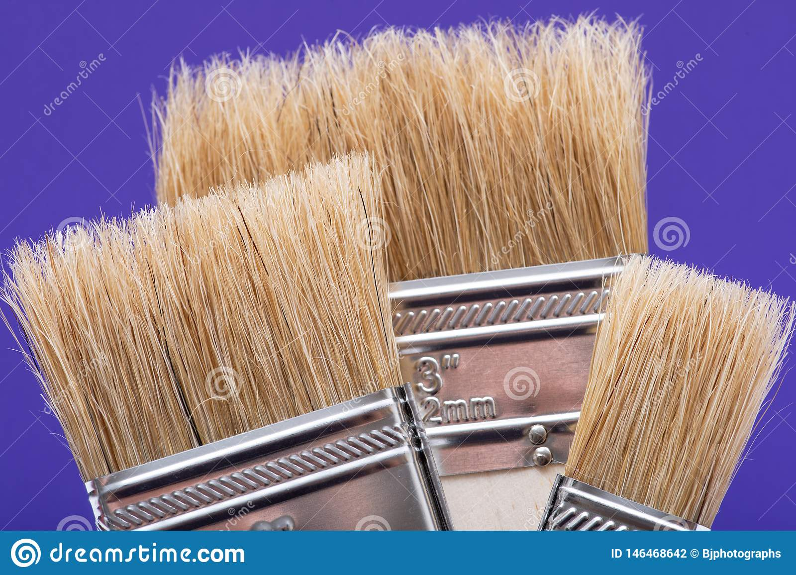 Flat Chip Painting Brush isolated on purple