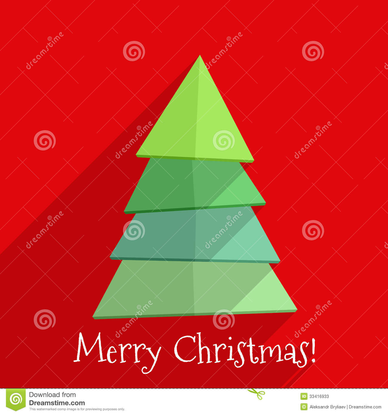 Flat Christmas Tree Design Stock Vector Image Of Merry