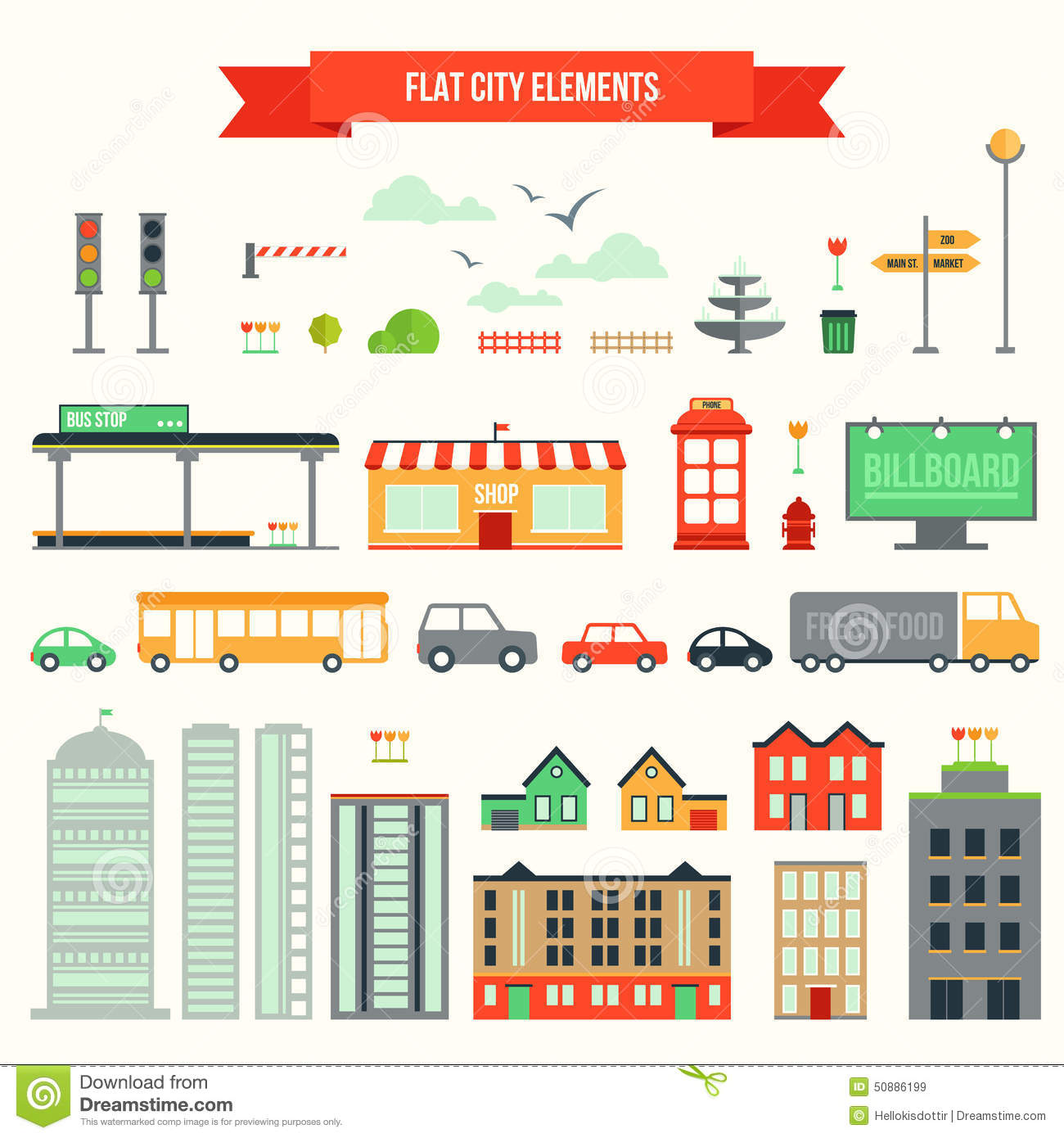 Generate Site Map: Flat City Elements Set Stock Vector