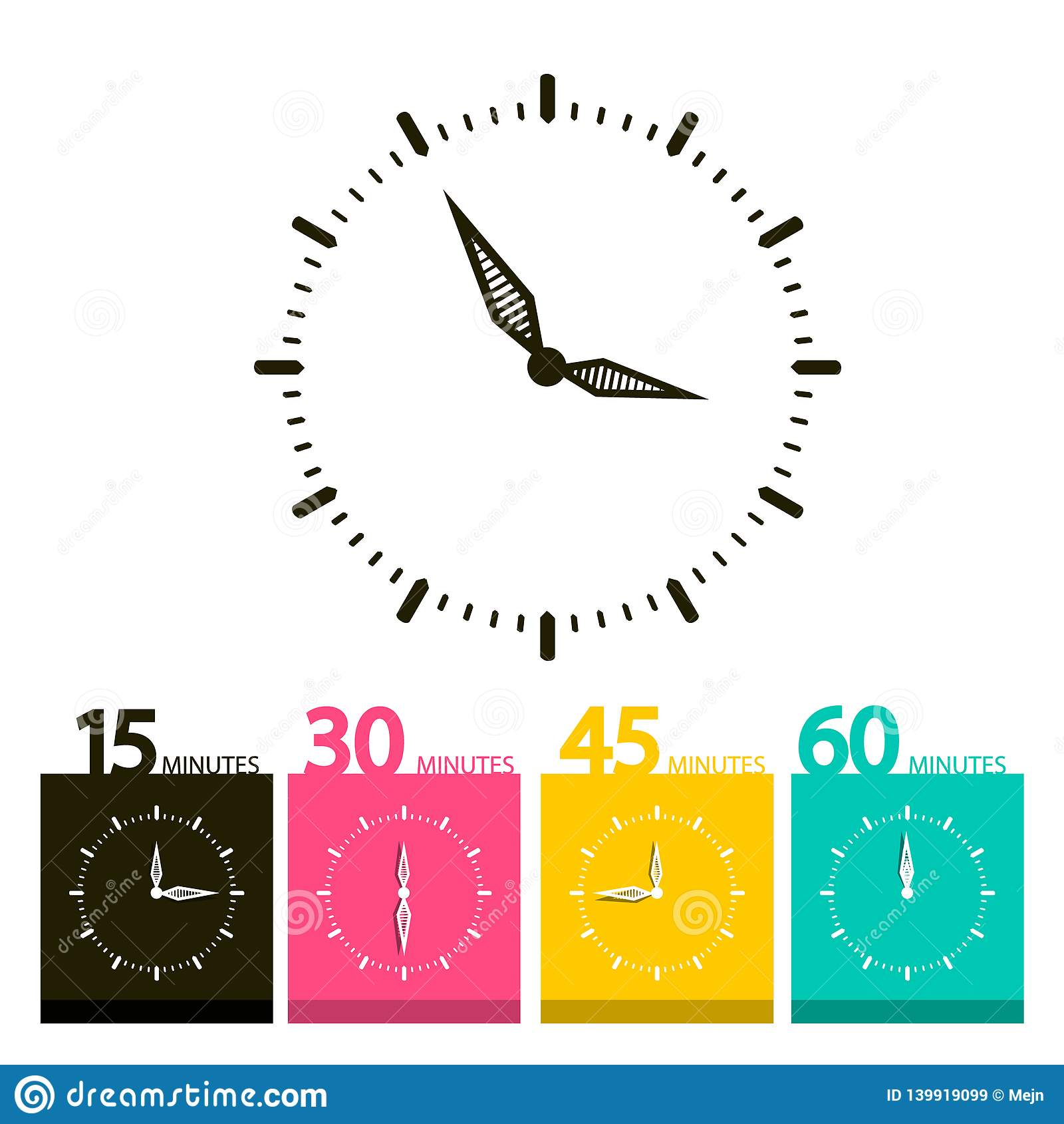 Flat Clock Symbol. Vector Time Icons.