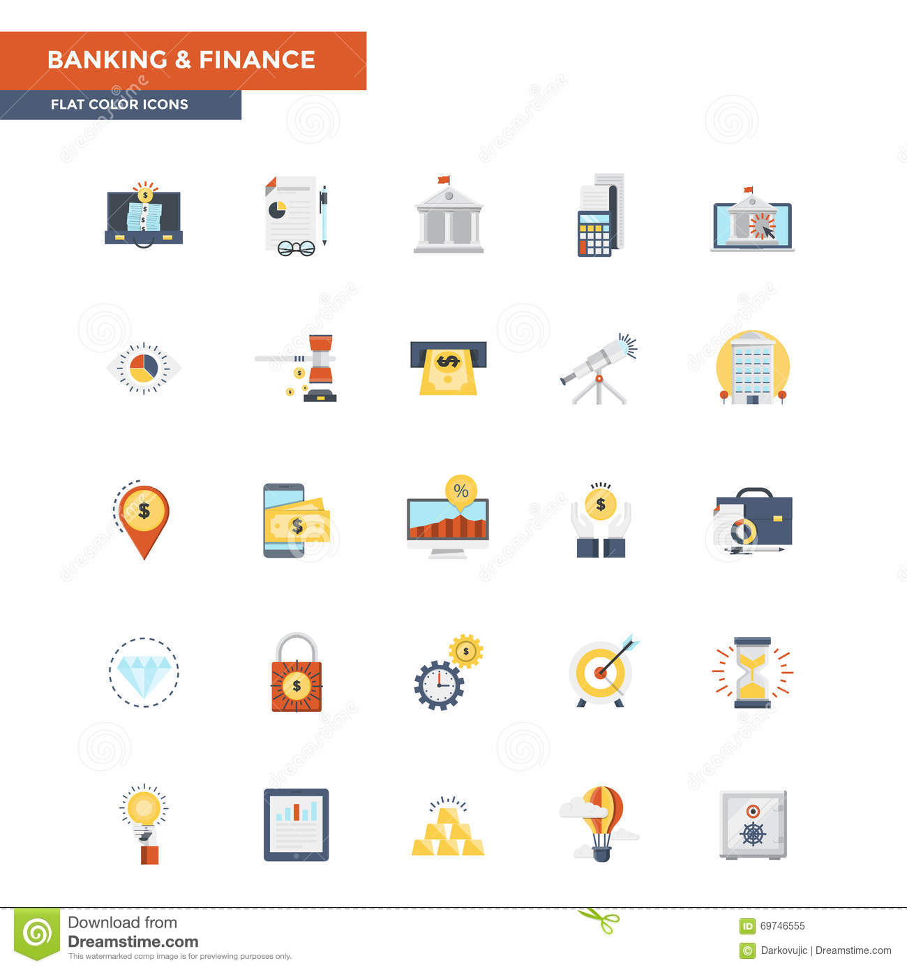 Flat Color Icons- Banking and Finance