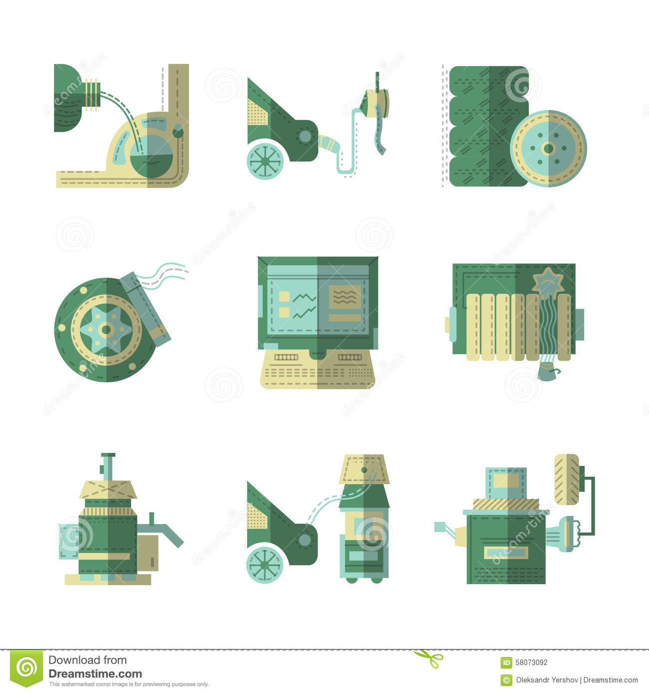 Flat Color Icons For Car Service Stock Photo Image 58073092