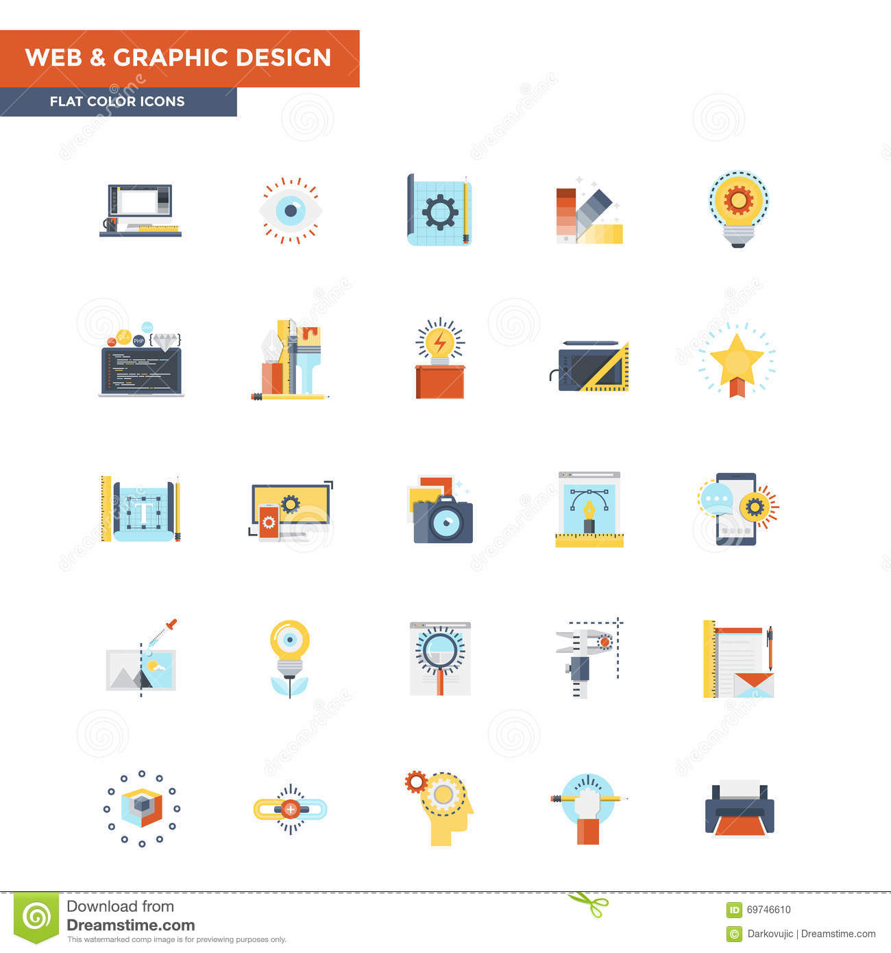 Flat color icons web and graphic design stock vector for Easy app design