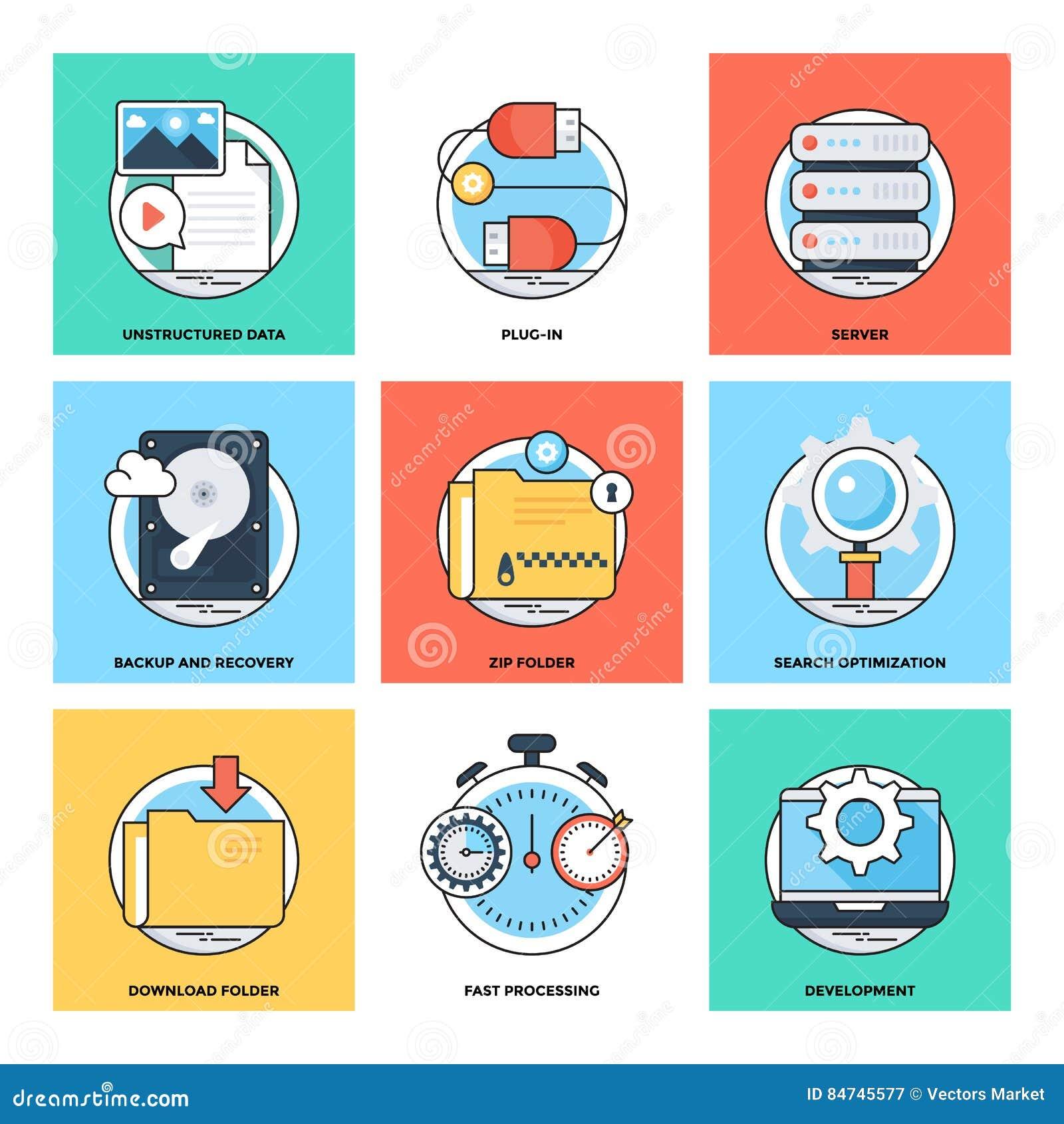Flat Color Line Design Concepts Vector Icons 20