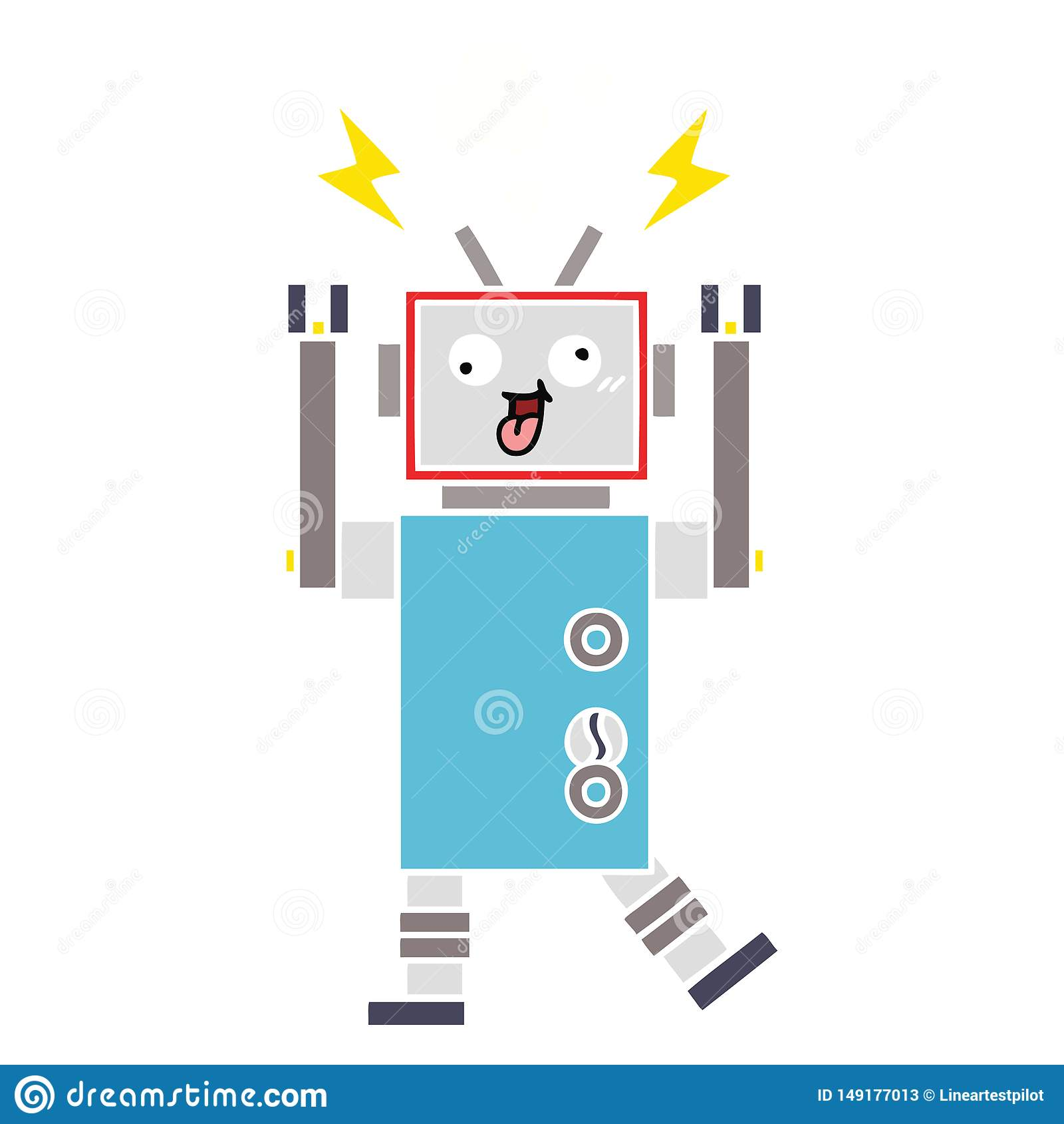 flat color retro cartoon crazy broken robot