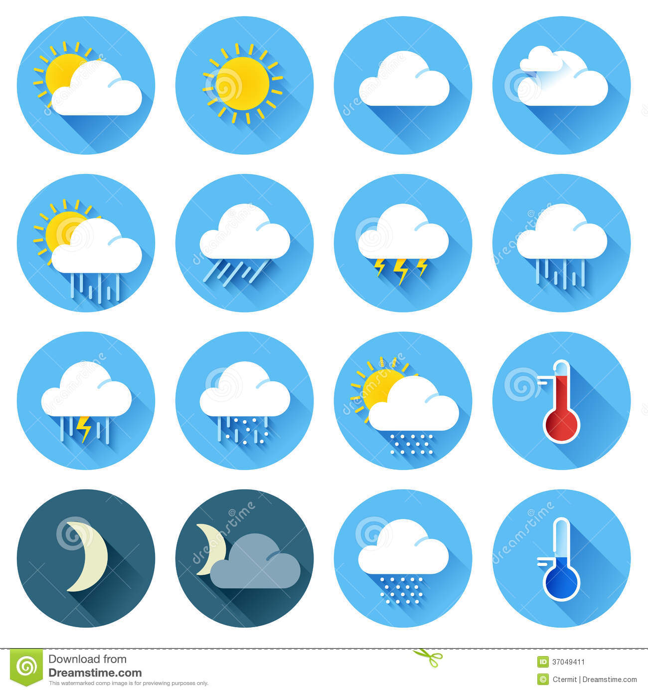 Flat Color Weather Icons Stock Image - Image: 37049411
