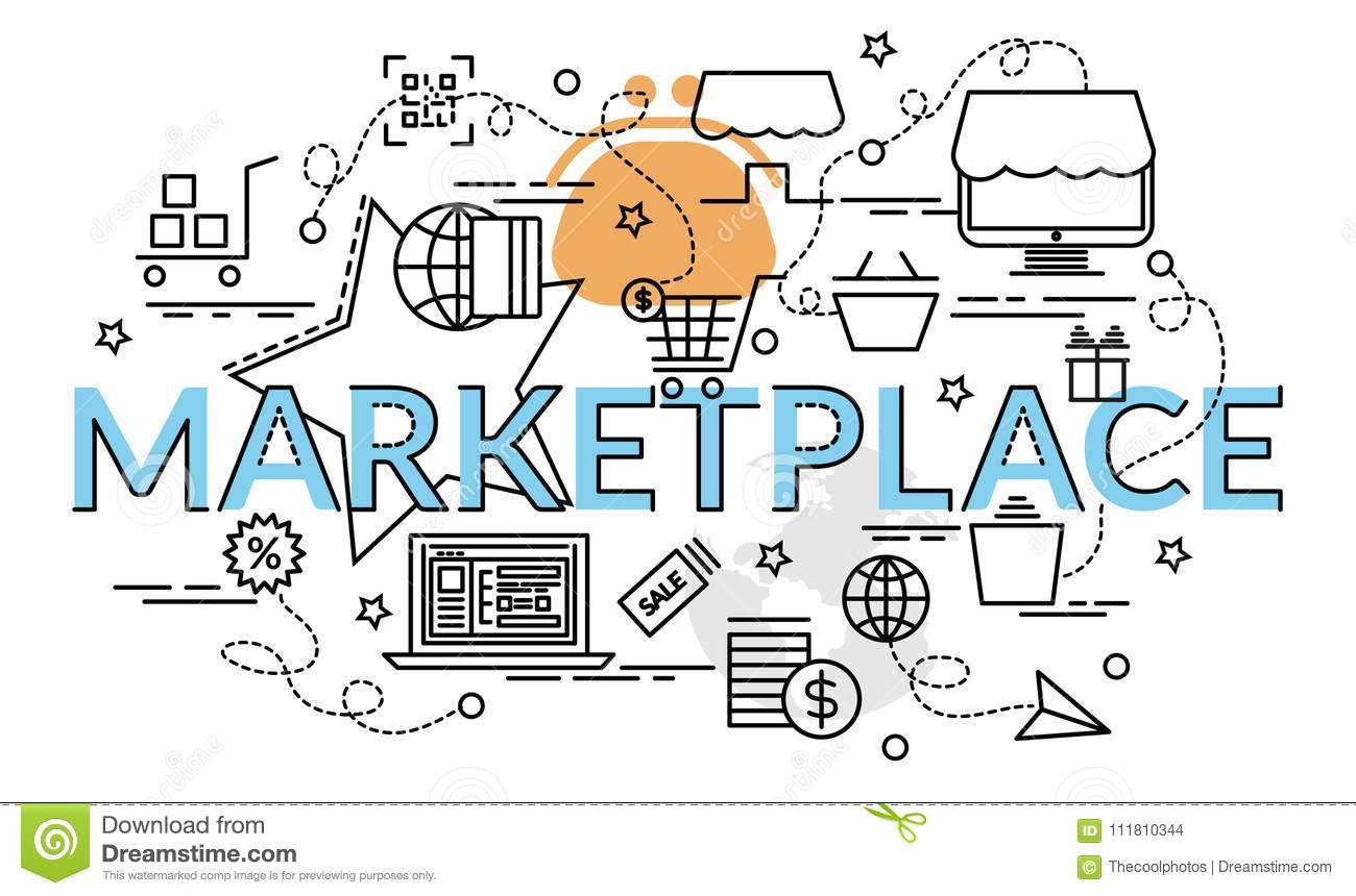 flat colorful design concept for marketplace stock vector