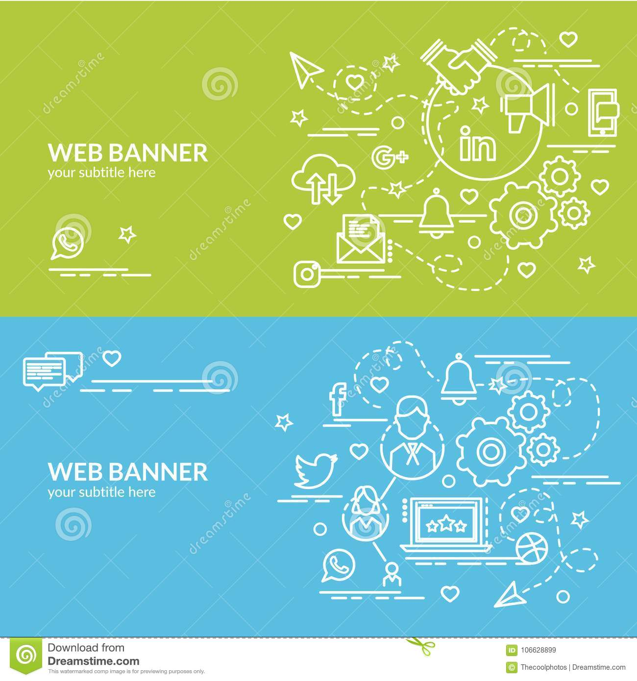 Flat Colorful Design Concept Of Social Network  Stock Vector