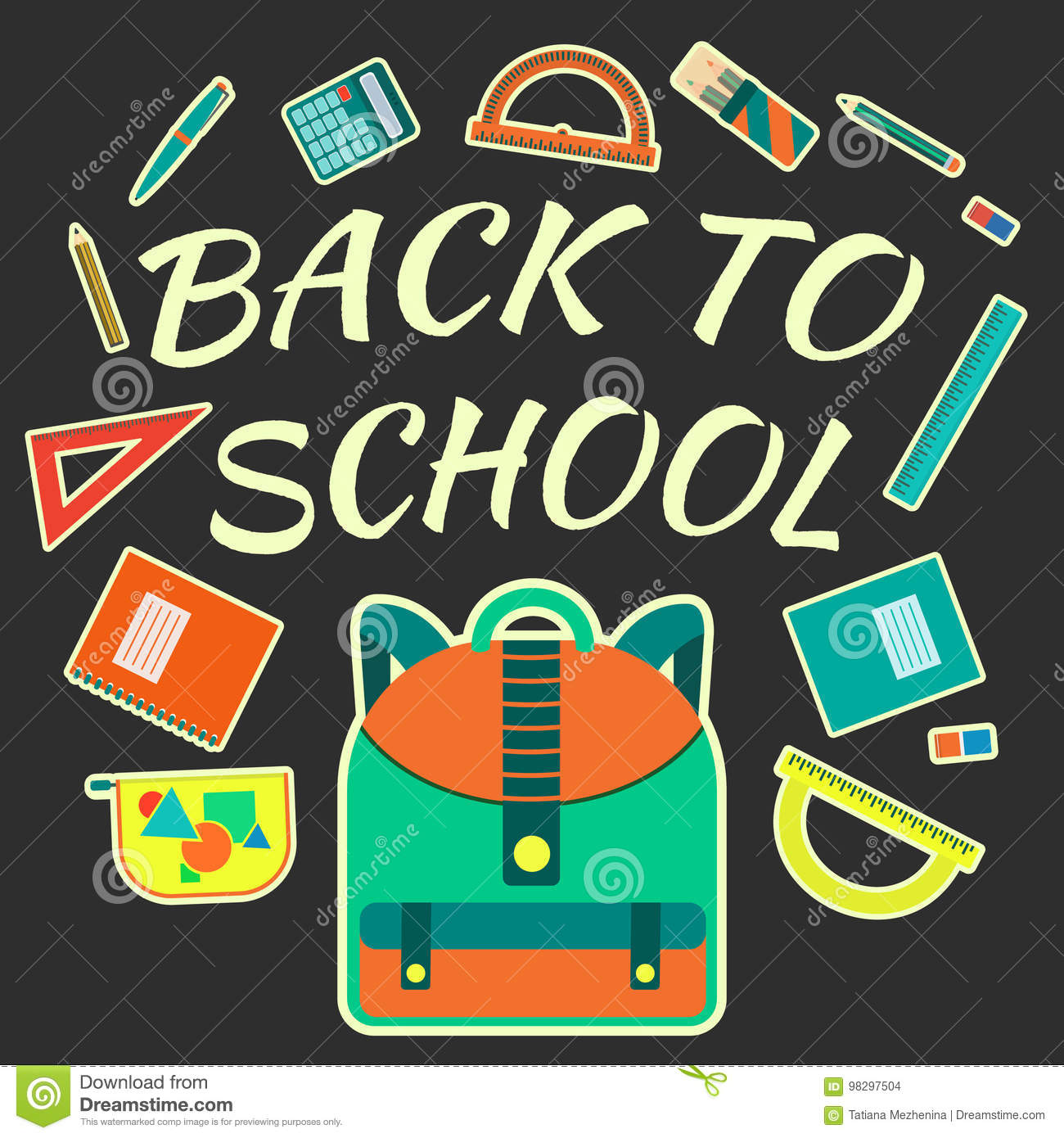 Flat Colorful Vector Poster With School Tools With Back To ...