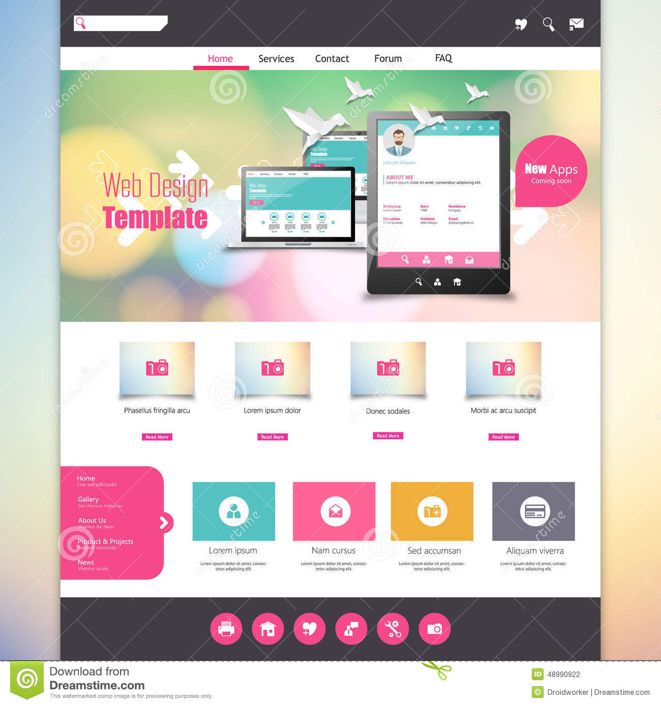 Flat Colorful Website Template With Clean Modern Design. Stock ...