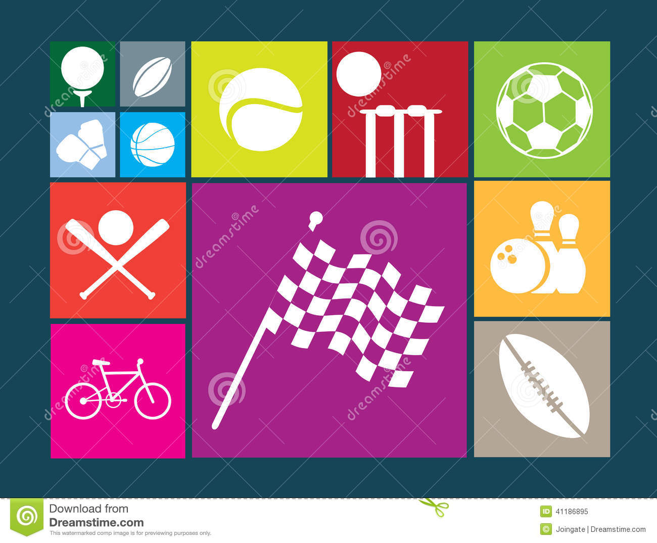 Color Sport Background Football Basketball Hockey Stock: Sports Icons Set On Blue Colour Stock Photography