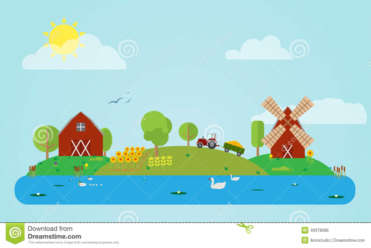 Flat Countryside Stock Vector Image