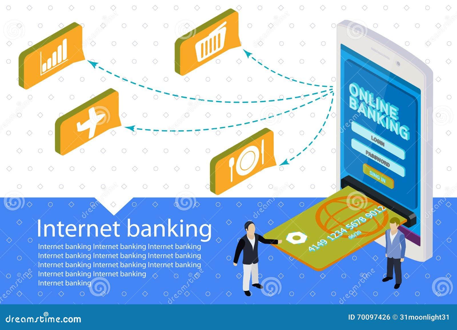 Flat 3d Internet Banking Vector Banner. Modern Mobile ...