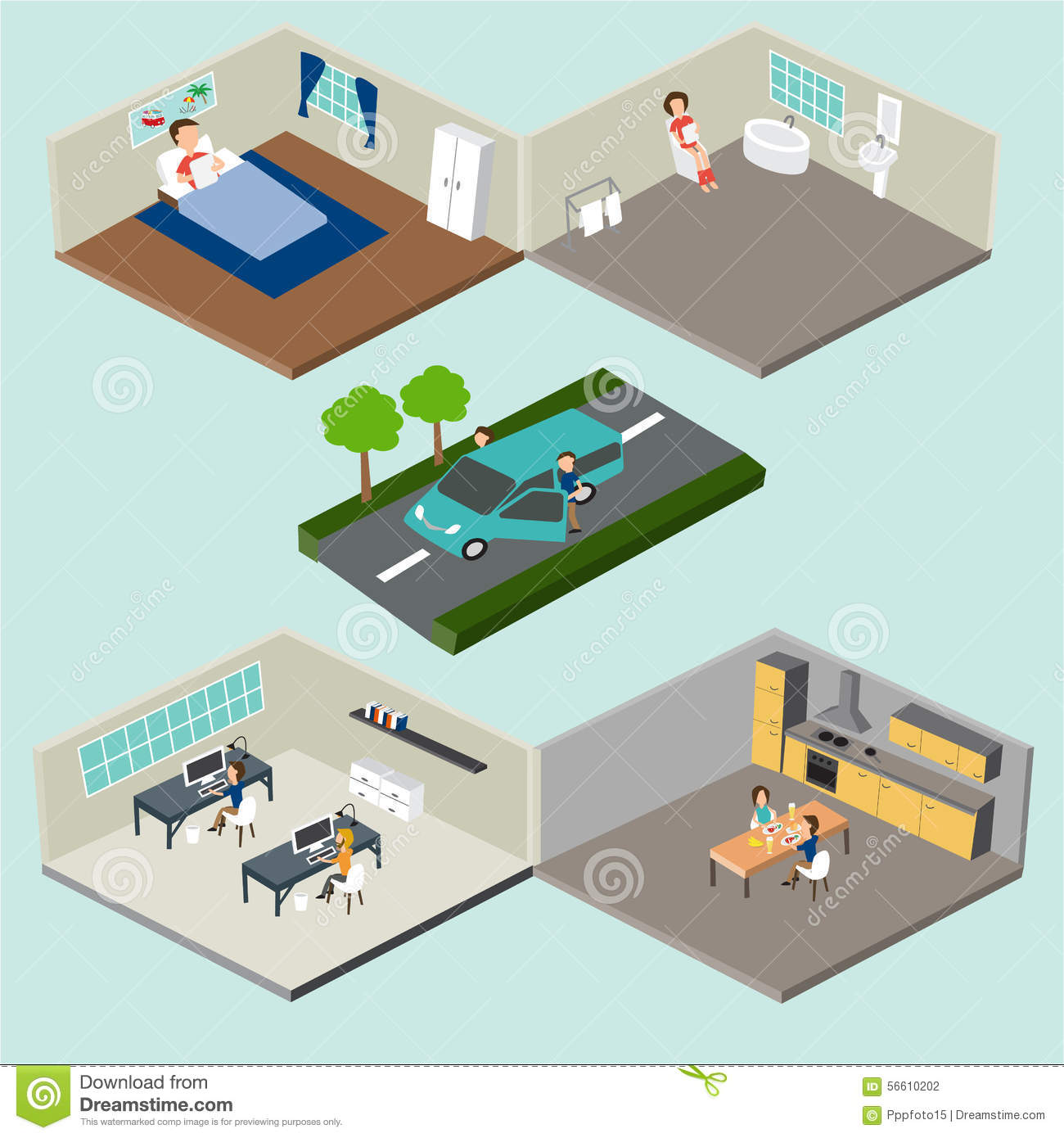 3d Floor Plan Isometric: Flat 3d Isometric Abstract Home And Office Floor Interior
