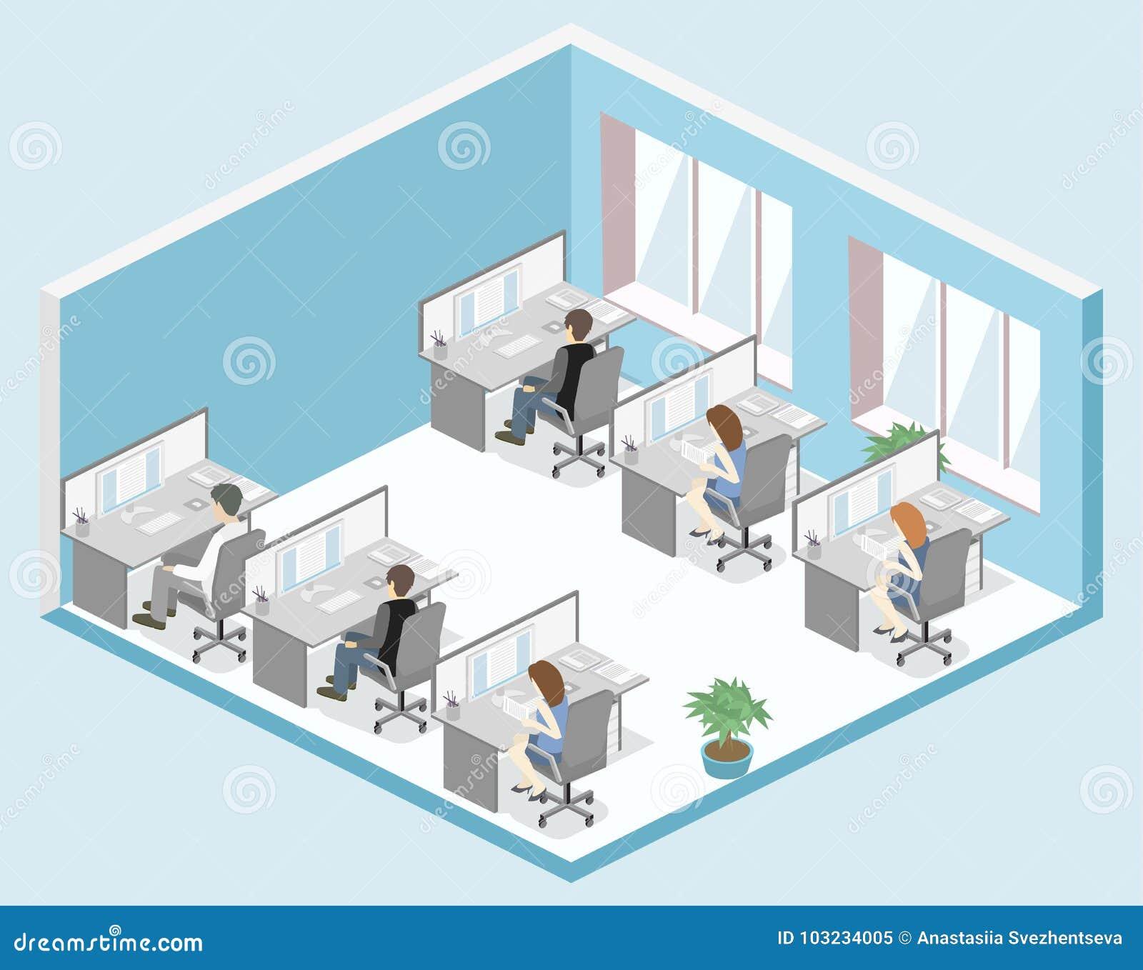 3d Floor Plan Isometric: Flat 3d Isometric Office Floor Interior Departments