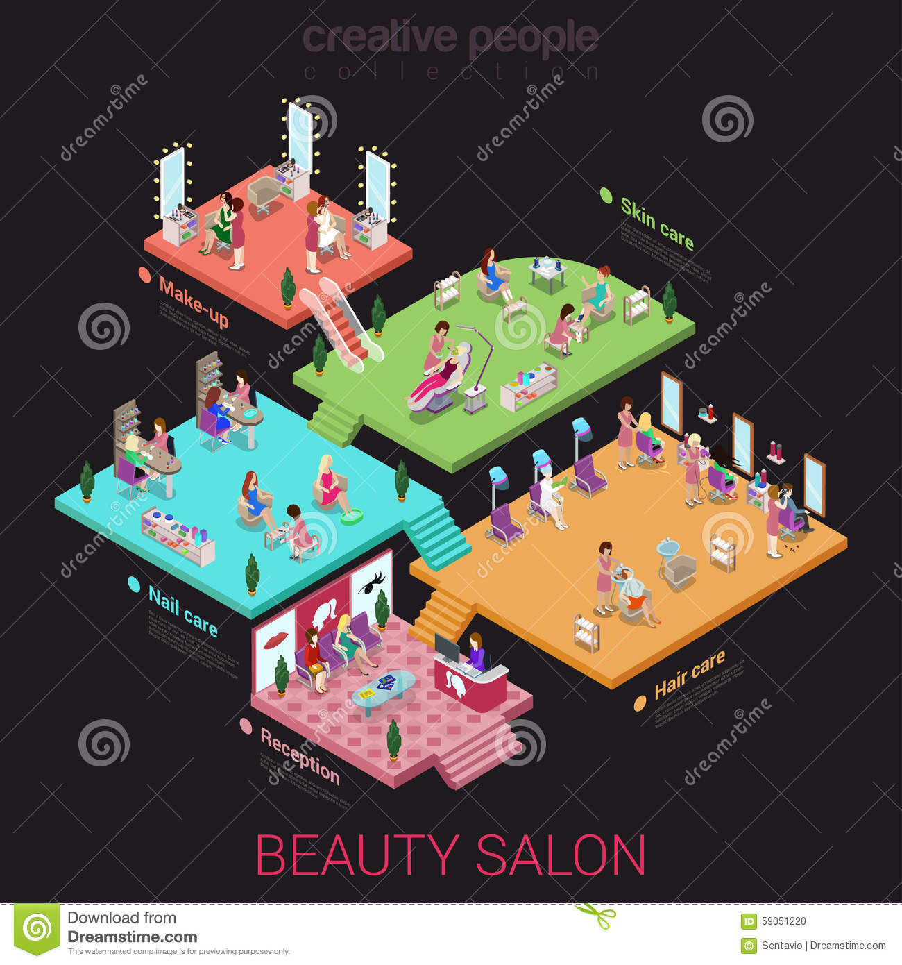 Flat 3d isometric beauty salon concept stock vector for Abstract beauty salon
