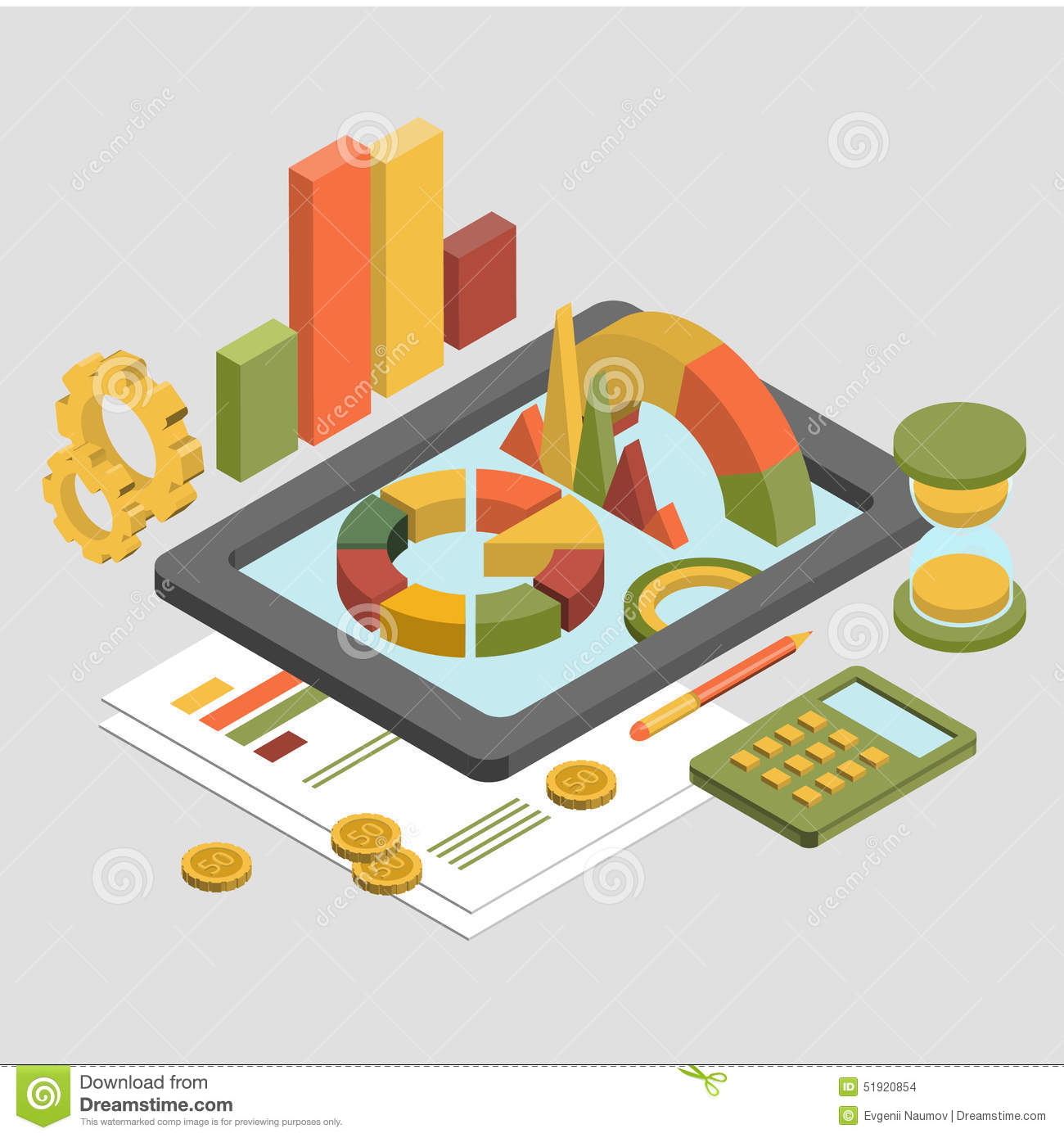 flat 3d isometric business   chart graphic vector stock