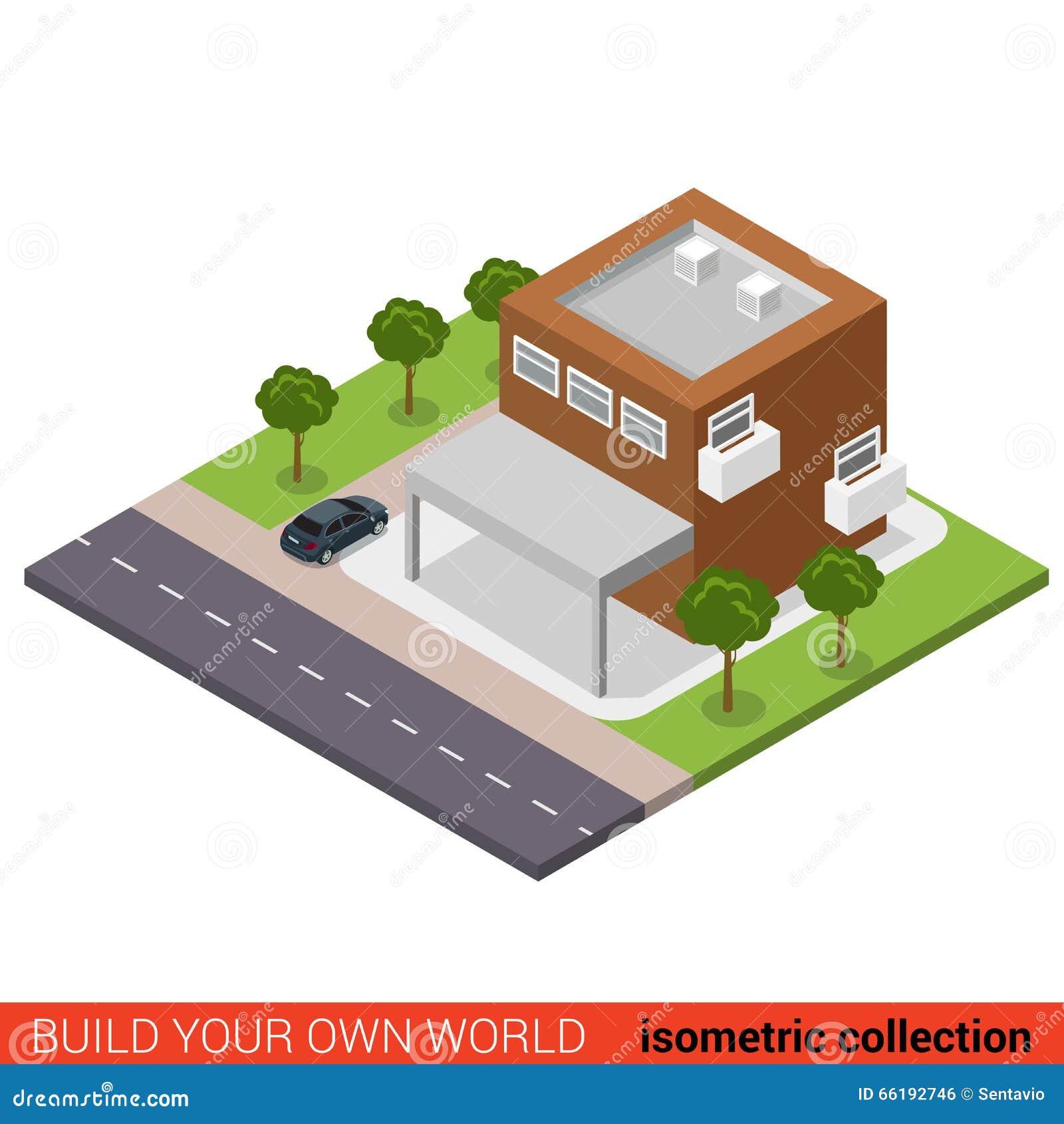 3d Floor Plan Isometric: Flat 3d Isometric Business Office Condominium Parking