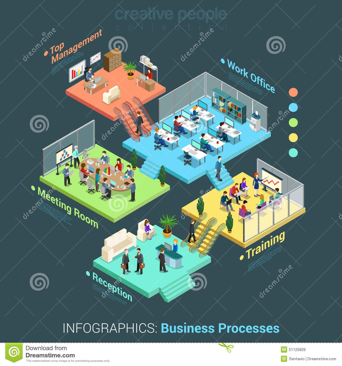 Flat 3d Isometric Business Office Floors Interior Rooms
